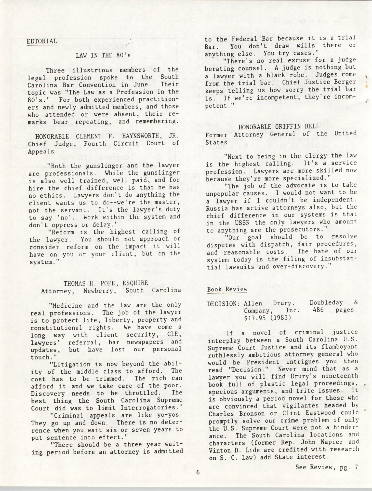 The General Practice Section Update, Vol. 1 No. 1, South Carolina Bar, November 1983, Page 6