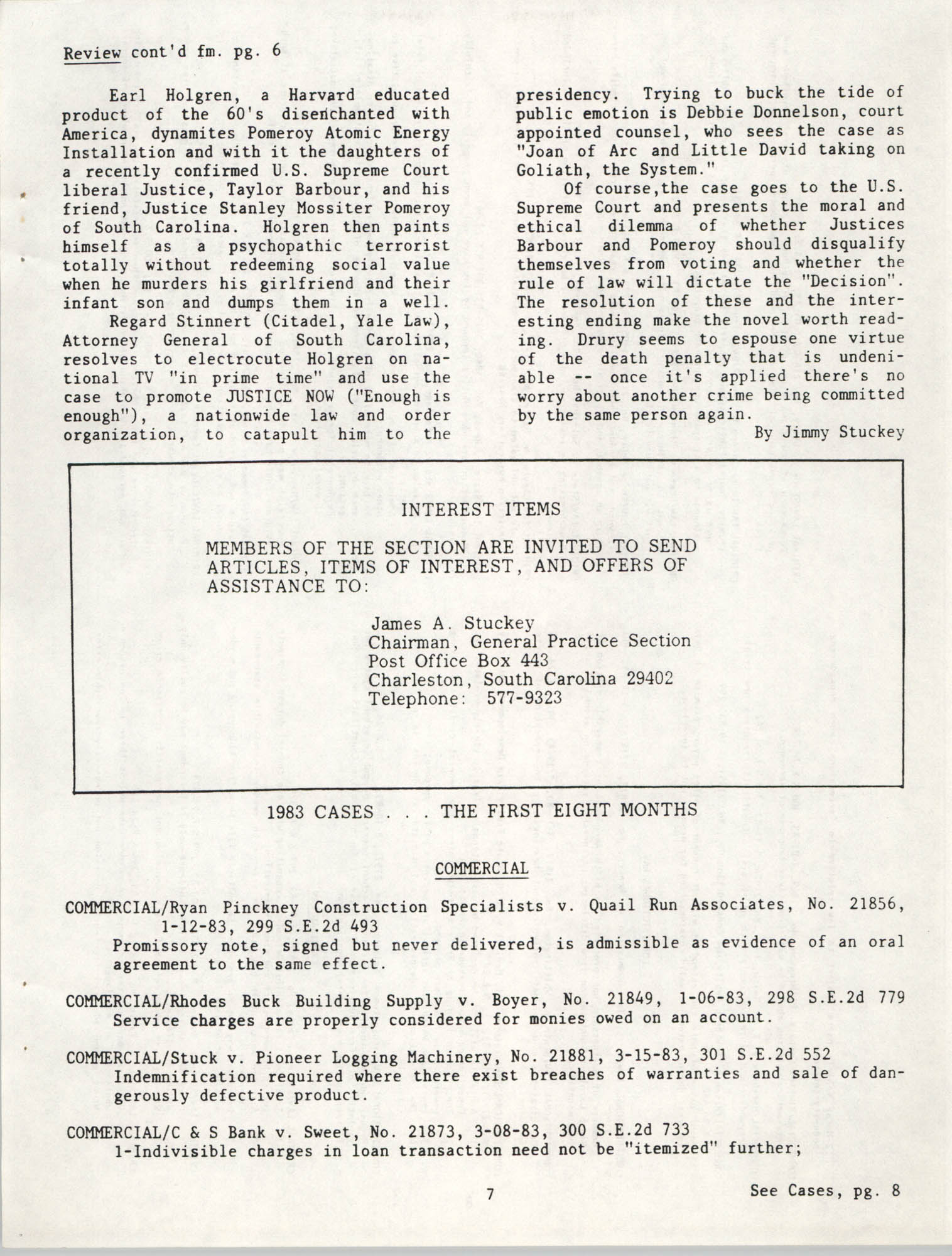 The General Practice Section Update, Vol. 1 No. 1, South Carolina Bar, November 1983, Page 7
