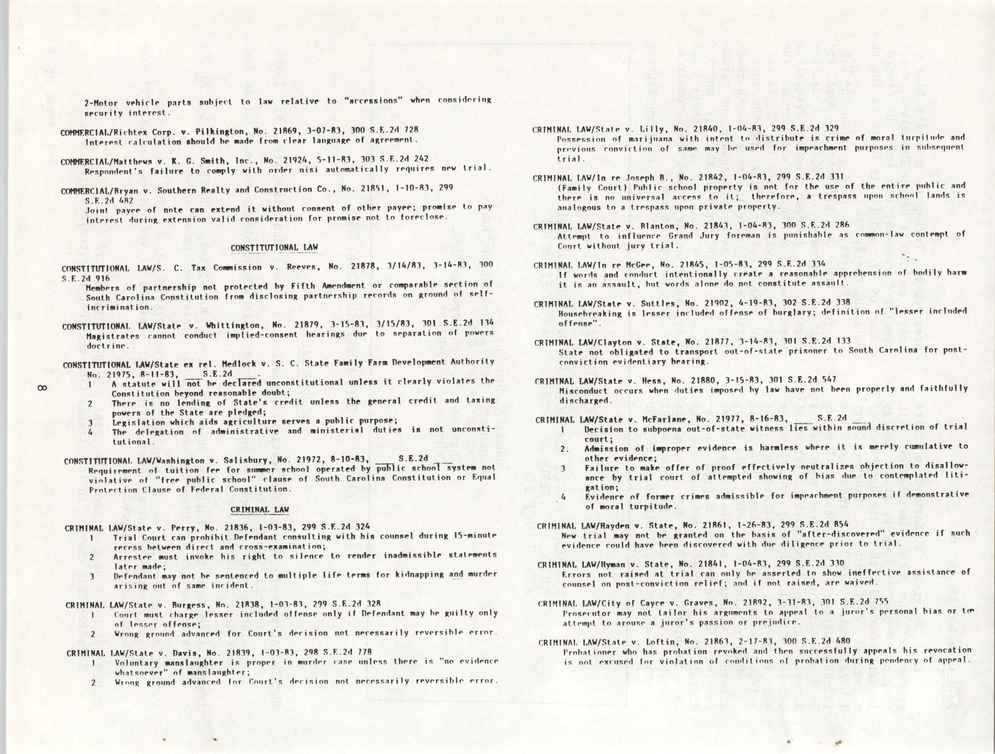The General Practice Section Update, Vol. 1 No. 1, South Carolina Bar, November 1983, Page 8