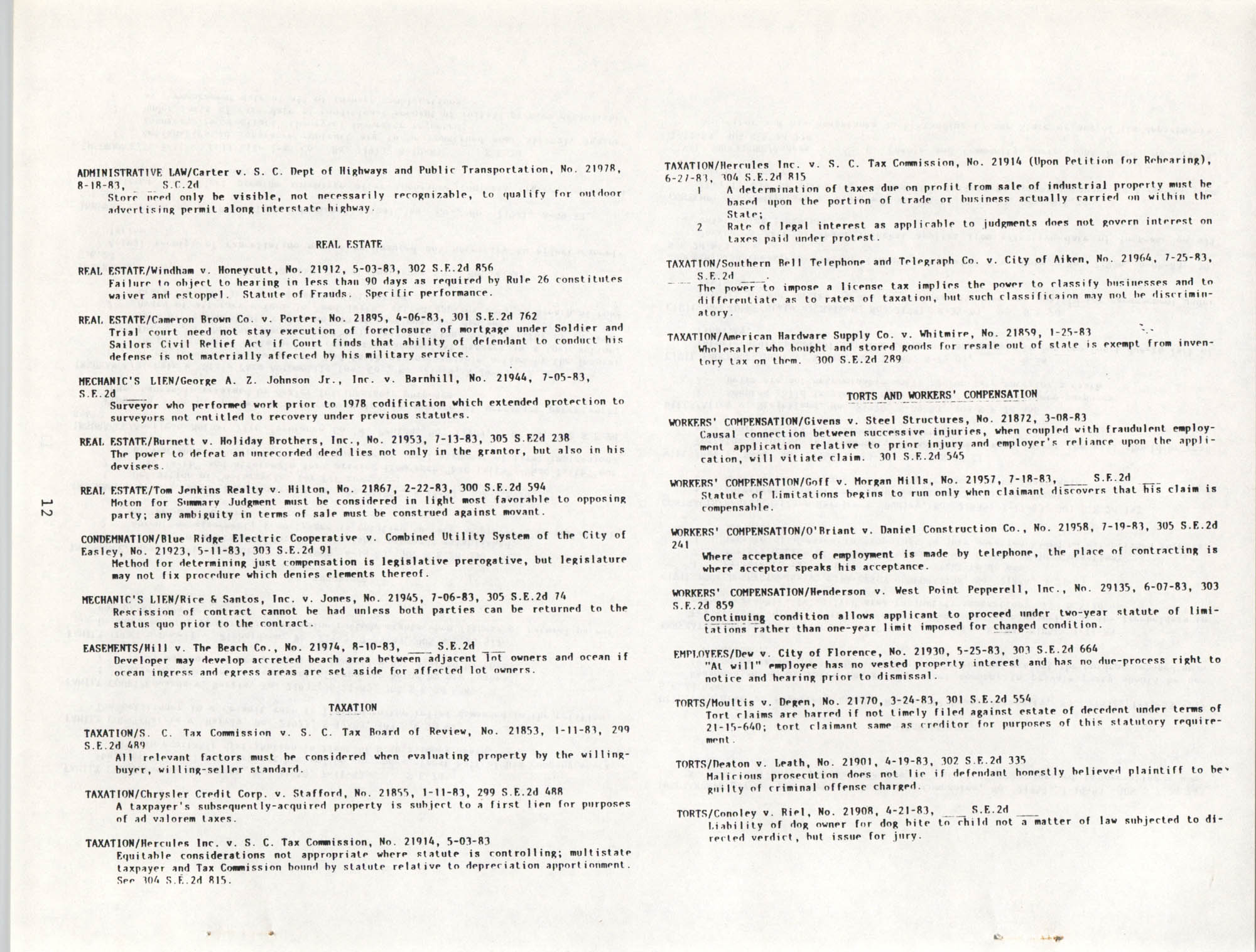The General Practice Section Update, Vol. 1 No. 1, South Carolina Bar, November 1983, Page 12