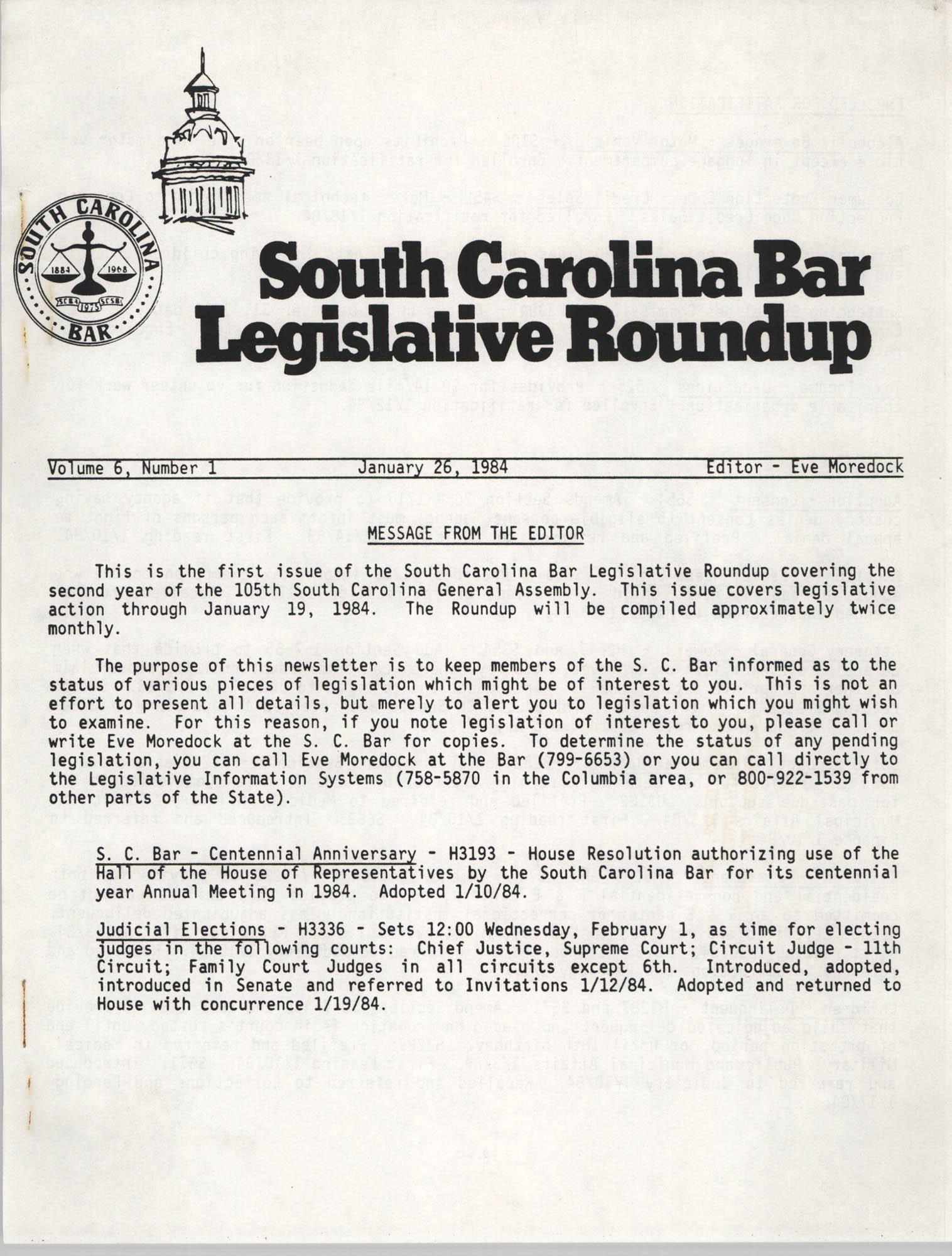 South Carolina Bar Legislative Roundup, Vol. 6 No. 1, January 26, 1984, Page 1