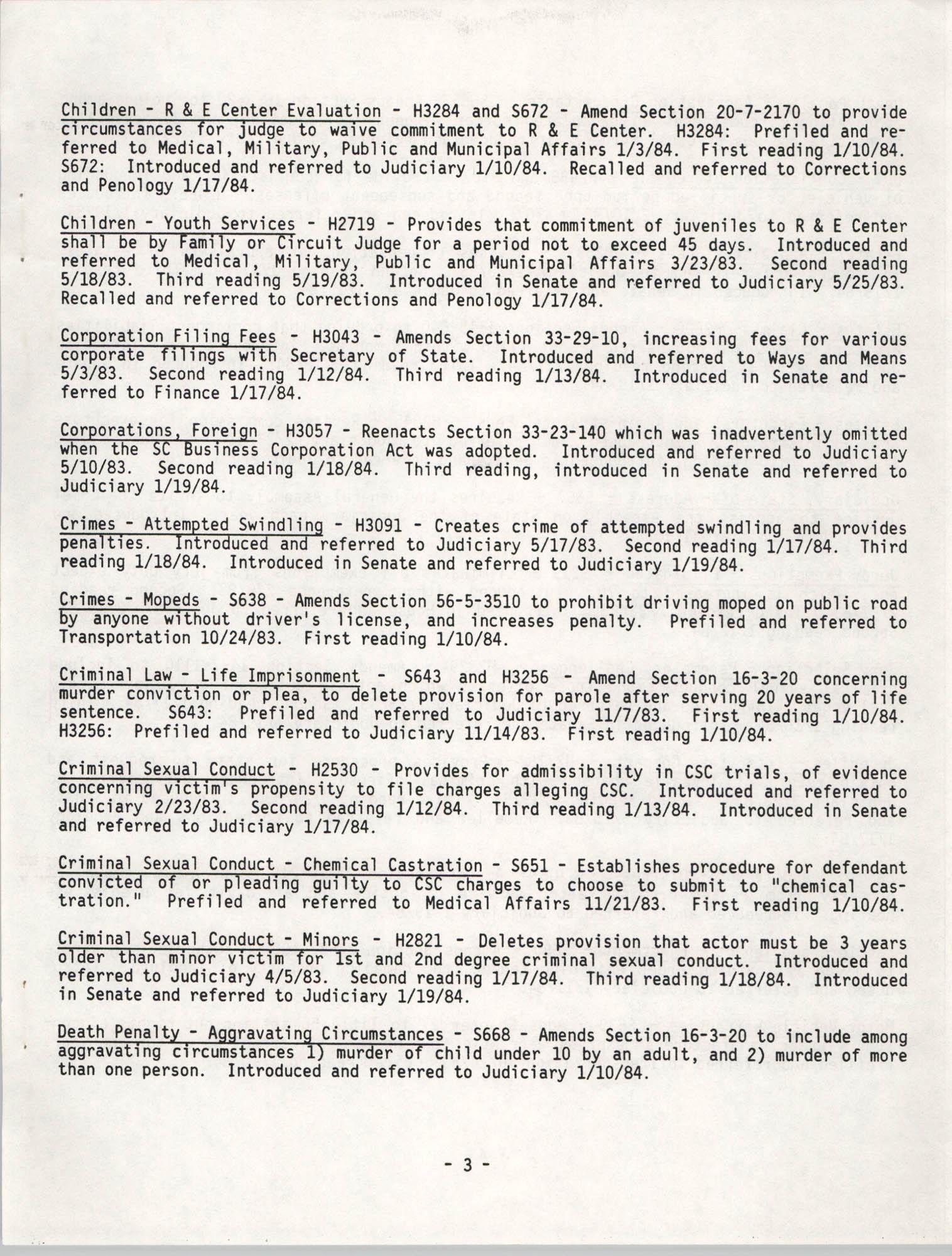 South Carolina Bar Legislative Roundup, Vol. 6 No. 1, January 26, 1984, Page 3