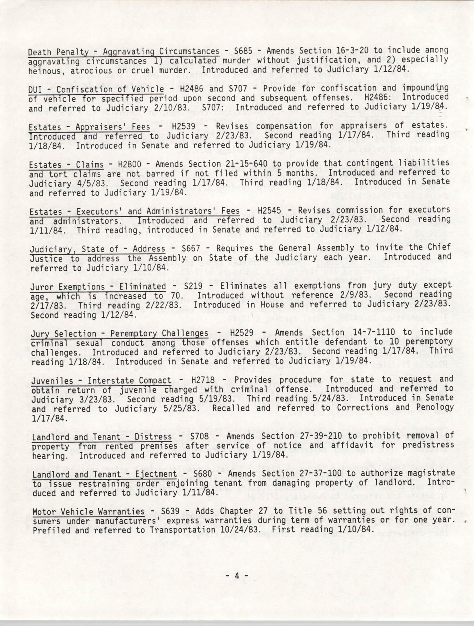 South Carolina Bar Legislative Roundup, Vol. 6 No. 1, January 26, 1984, Page 4