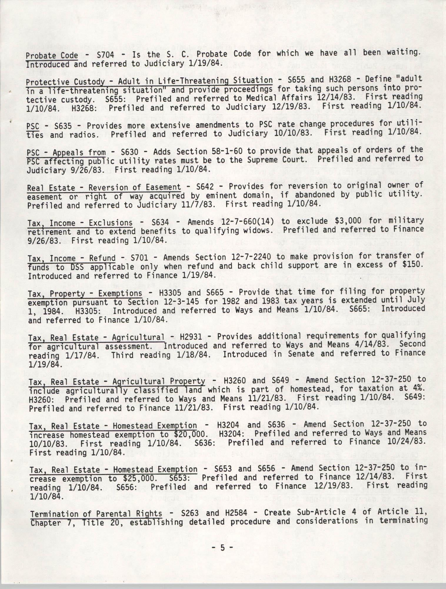 South Carolina Bar Legislative Roundup, Vol. 6 No. 1, January 26, 1984, Page 5