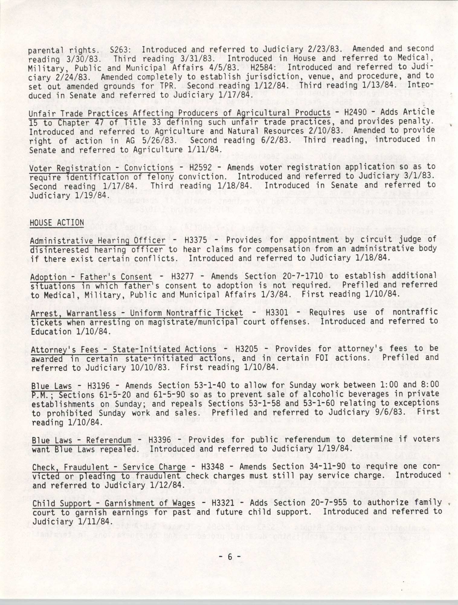 South Carolina Bar Legislative Roundup, Vol. 6 No. 1, January 26, 1984, Page 6