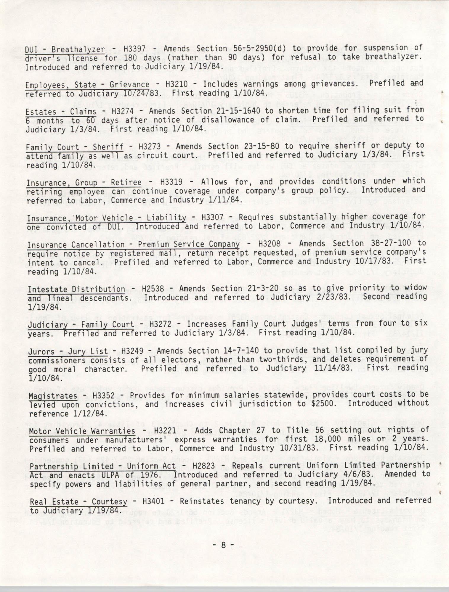 South Carolina Bar Legislative Roundup, Vol. 6 No. 1, January 26, 1984, Page 8
