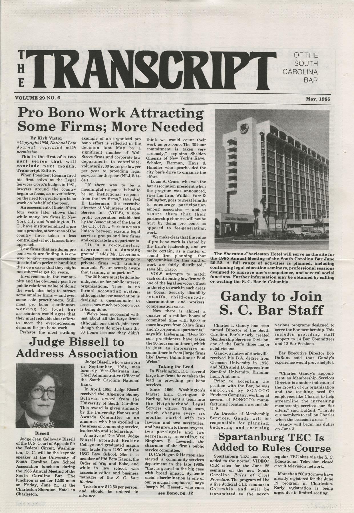 The Transcript of the South Carolina Bar, Vol. 29 No. 6, May 1985, Page 1
