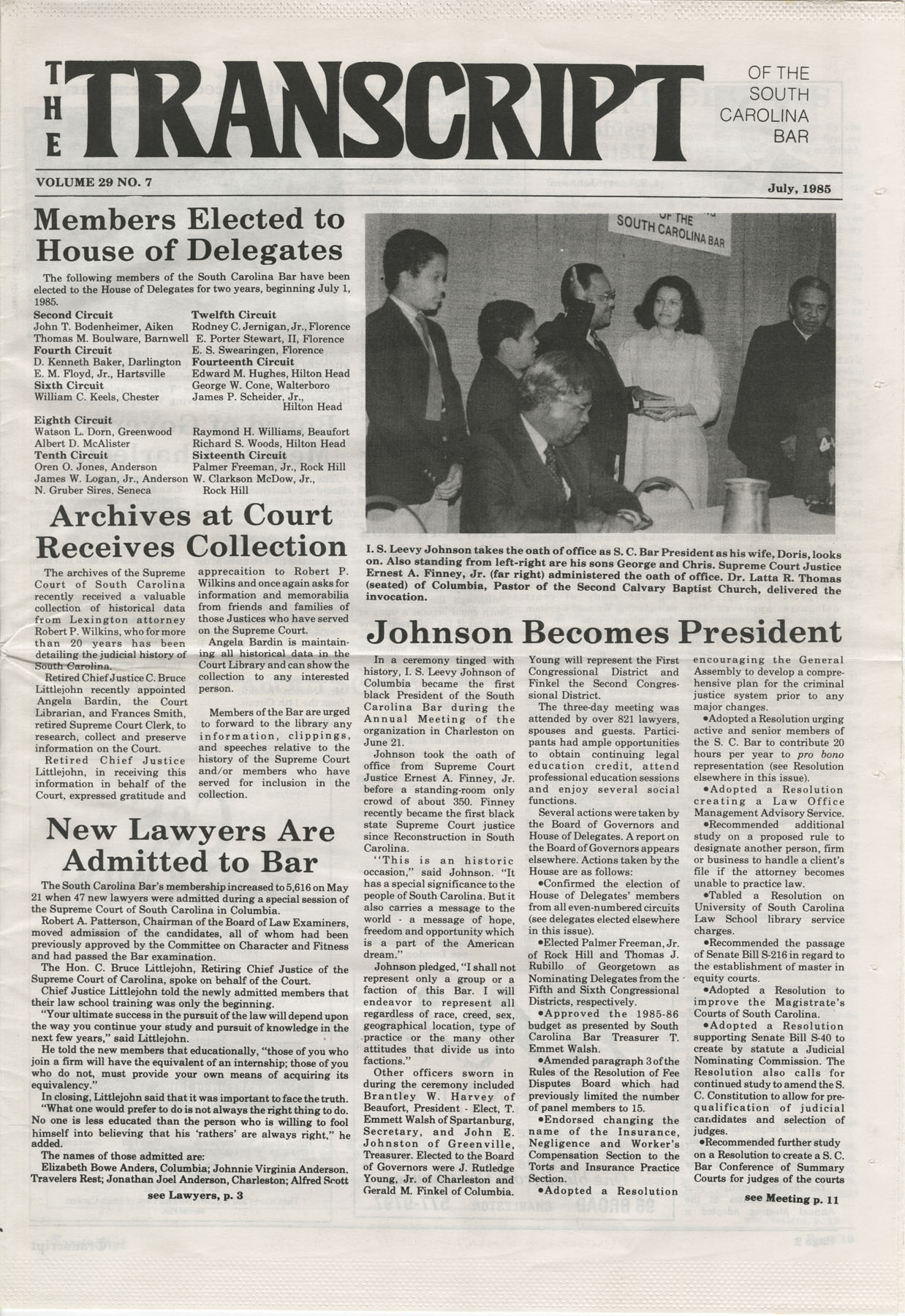 The Transcript of the South Carolina Bar, Vol. 29 No. 7, July 1985, Page 1
