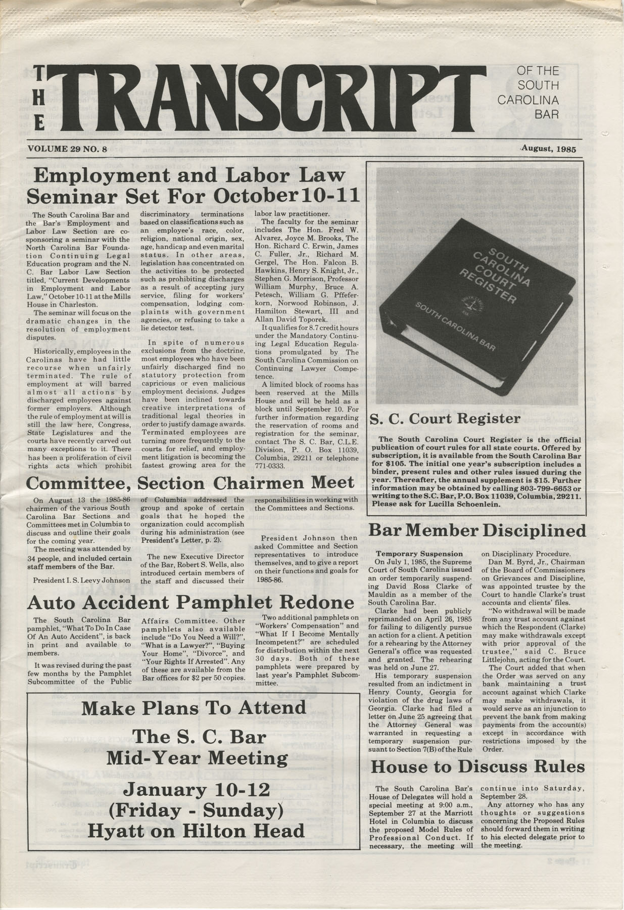 The Transcript of the South Carolina Bar, Vol. 29 No. 8, August 1985, Page 1