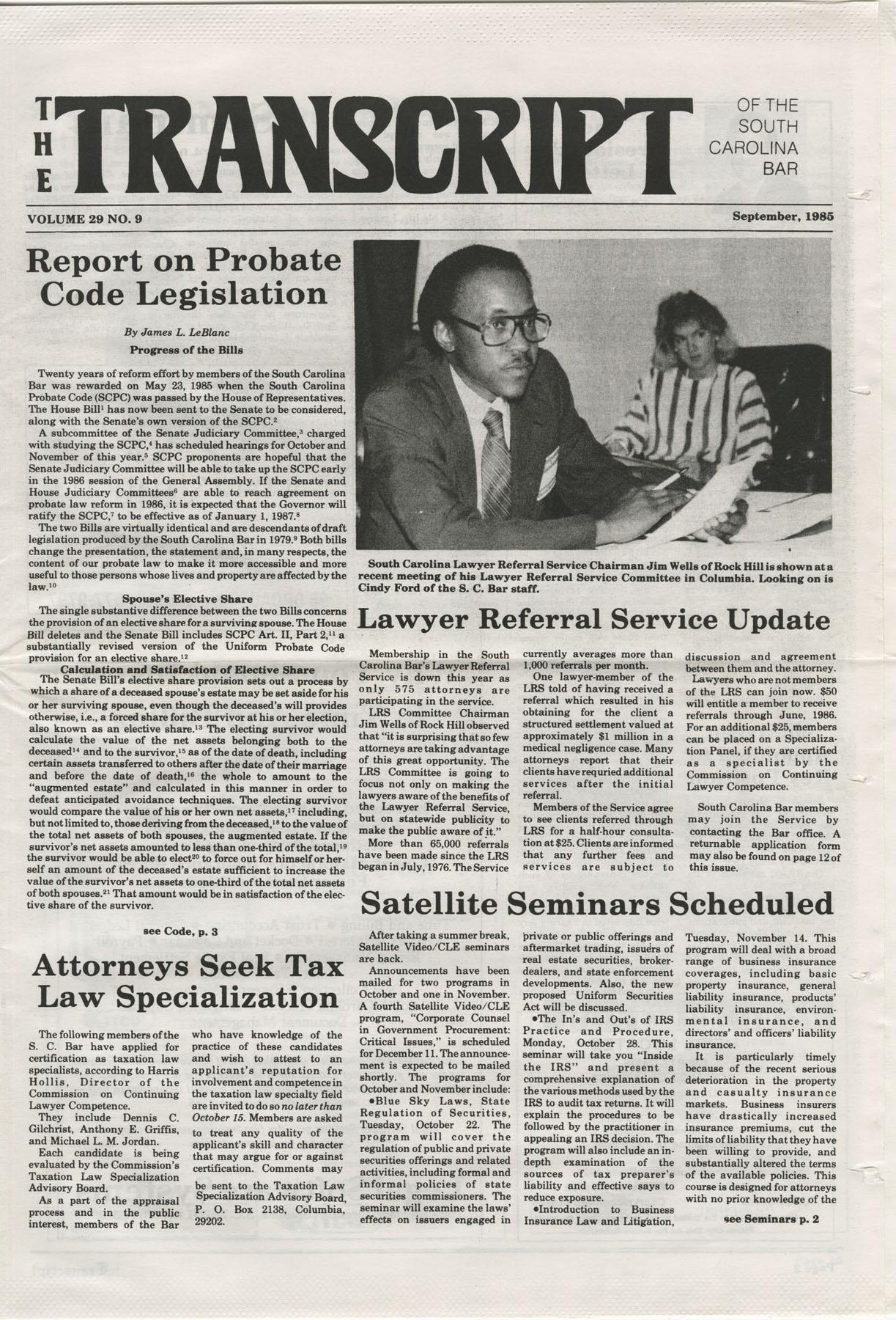The Transcript of the South Carolina Bar, Vol. 29 No. 9, September 1985, Page 1