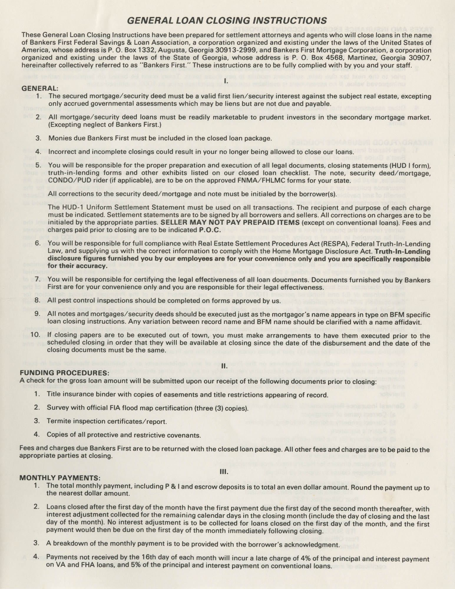 General Loan Closing Instructions, Page 1