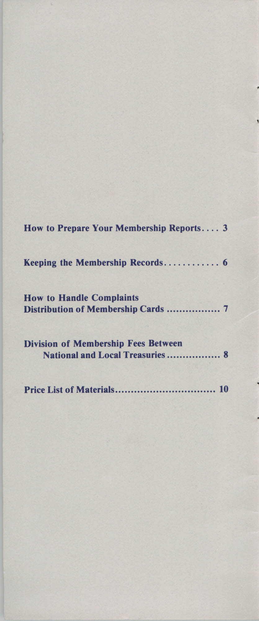 Manual for the Branch Secretary, Membership Department, NAACP, Page 1