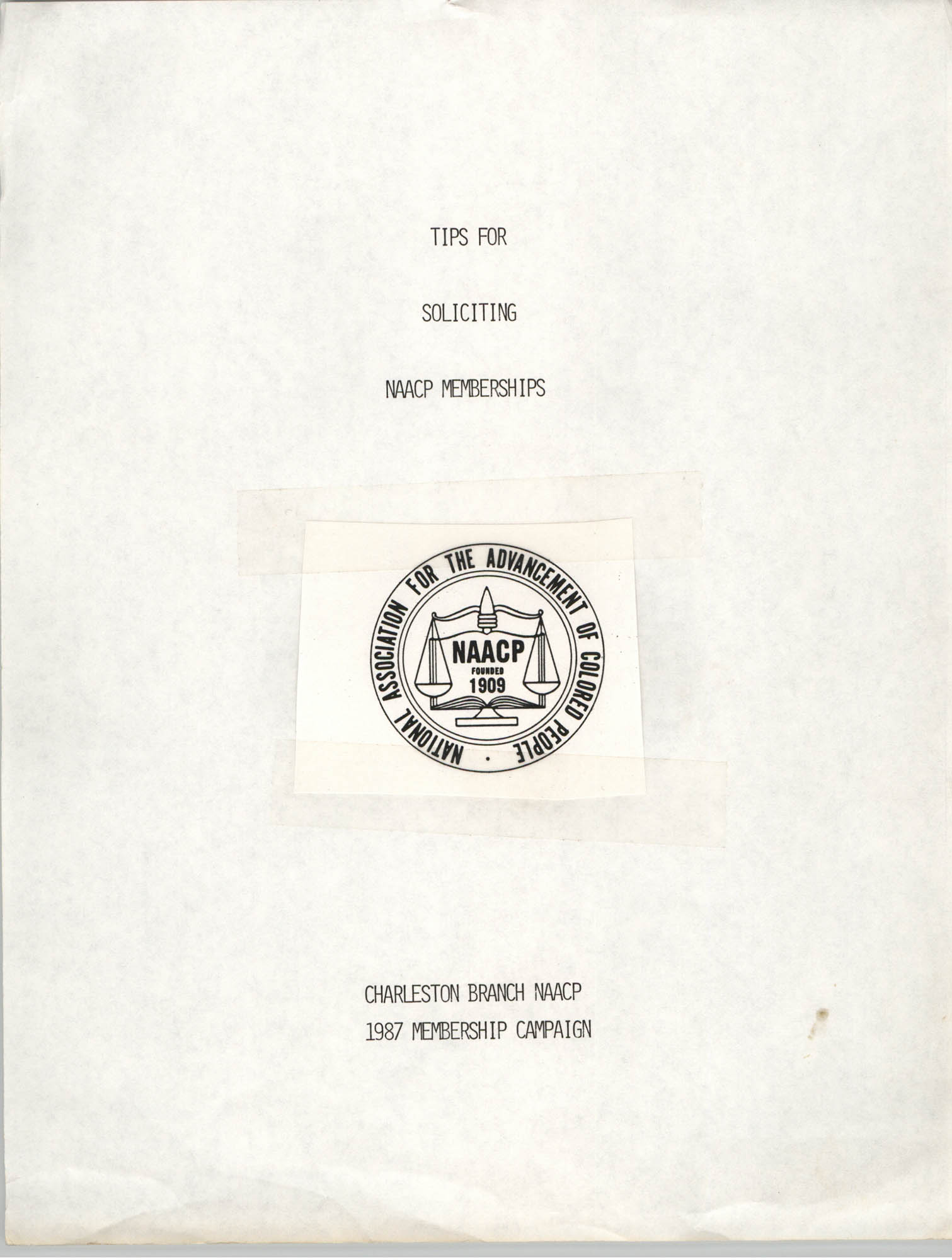 Tips for Soliciting NAACP Members, Pamphlet, Charleston Branch of the NAACP, 1987, Cover Page