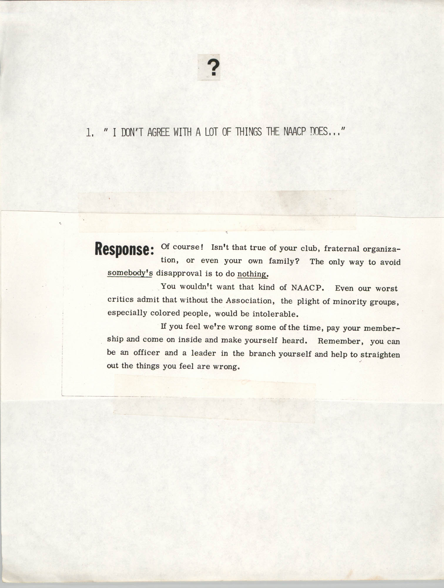 Tips for Soliciting NAACP Members, Pamphlet, Charleston Branch of the NAACP, 1987, Page 1