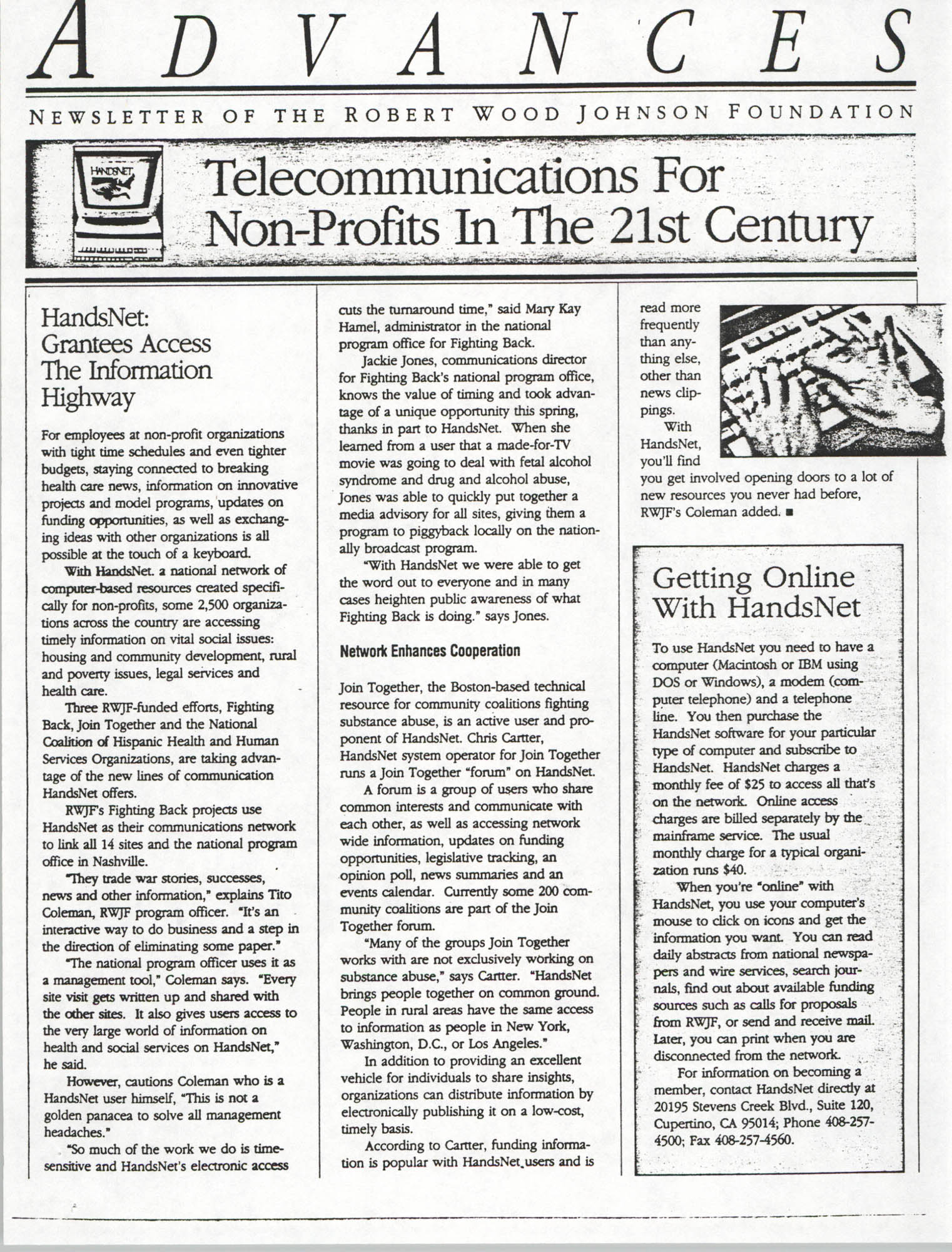 Developing an Agenda for the Information Superhighway, Anthony L. Pharr, May 20, 1994, Page 8