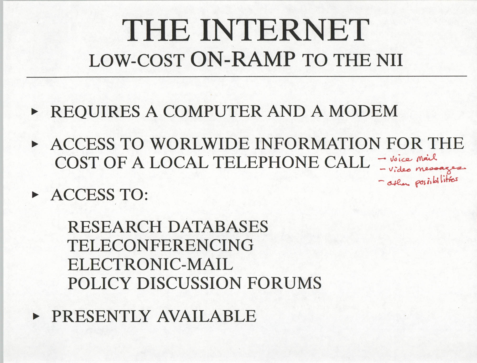 Developing an Agenda for the Information Superhighway, Anthony L. Pharr, May 20, 1994, Page 9