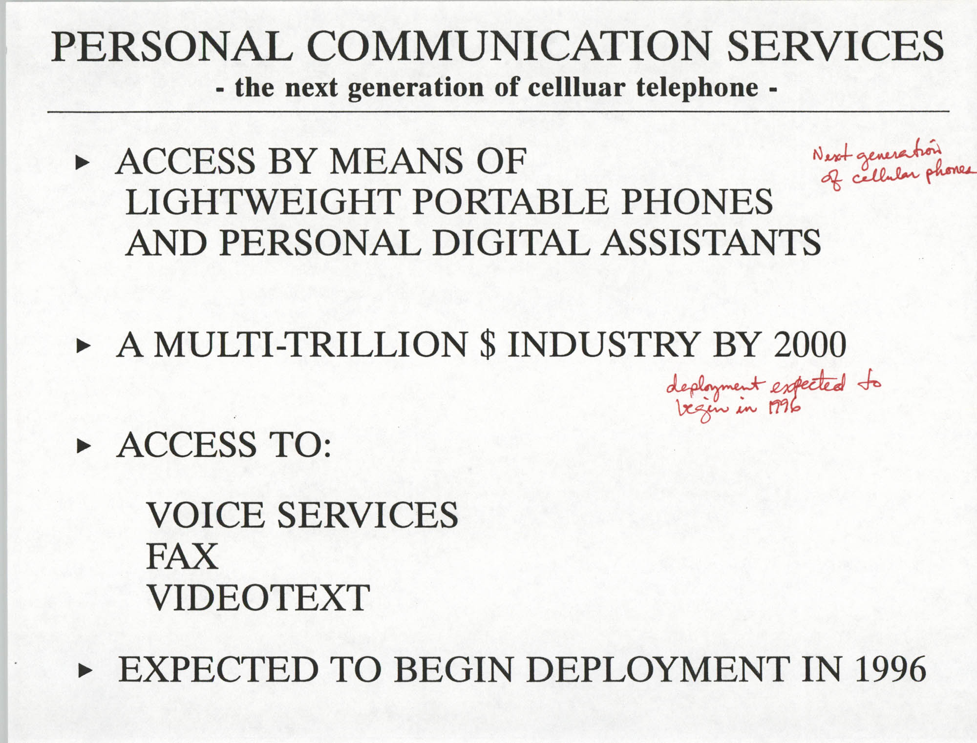 Developing an Agenda for the Information Superhighway, Anthony L. Pharr, May 20, 1994, Page 10