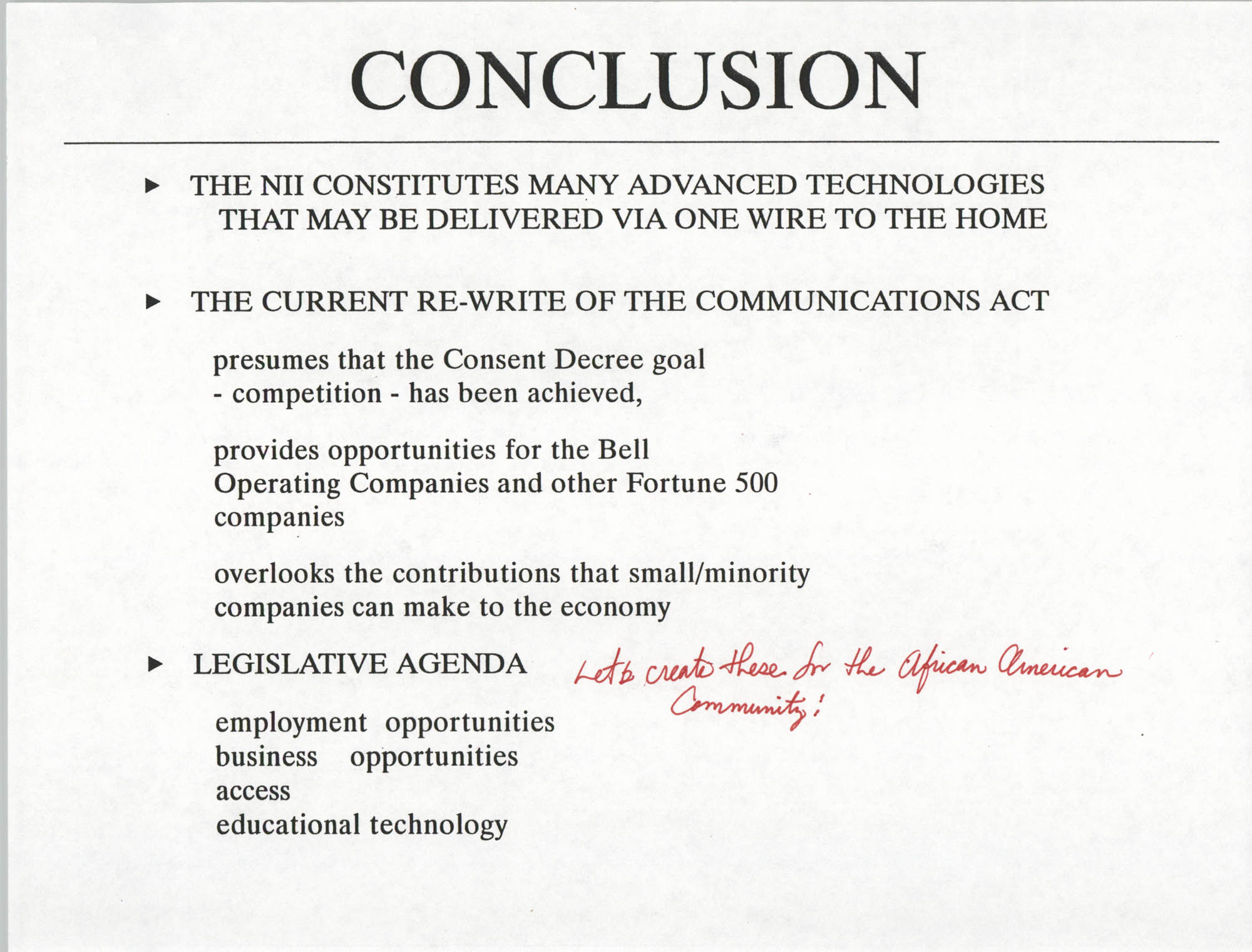 Developing an Agenda for the Information Superhighway, Anthony L. Pharr, May 20, 1994, Page 29