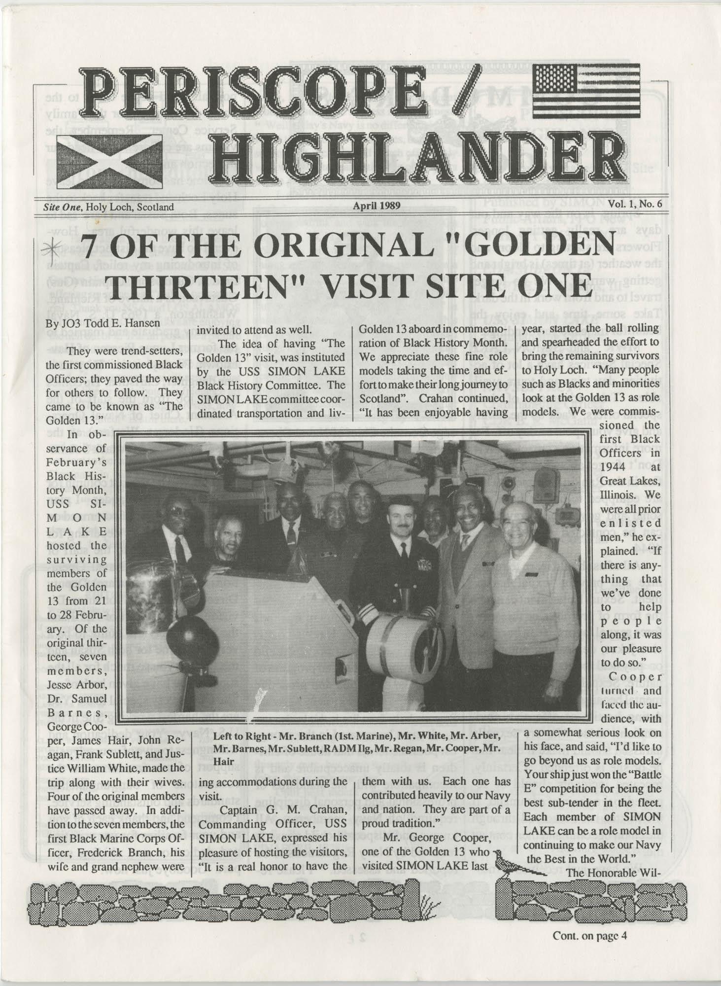 Periscope/Highlander, Vol. 1 No. 6, April 1989, Page 1