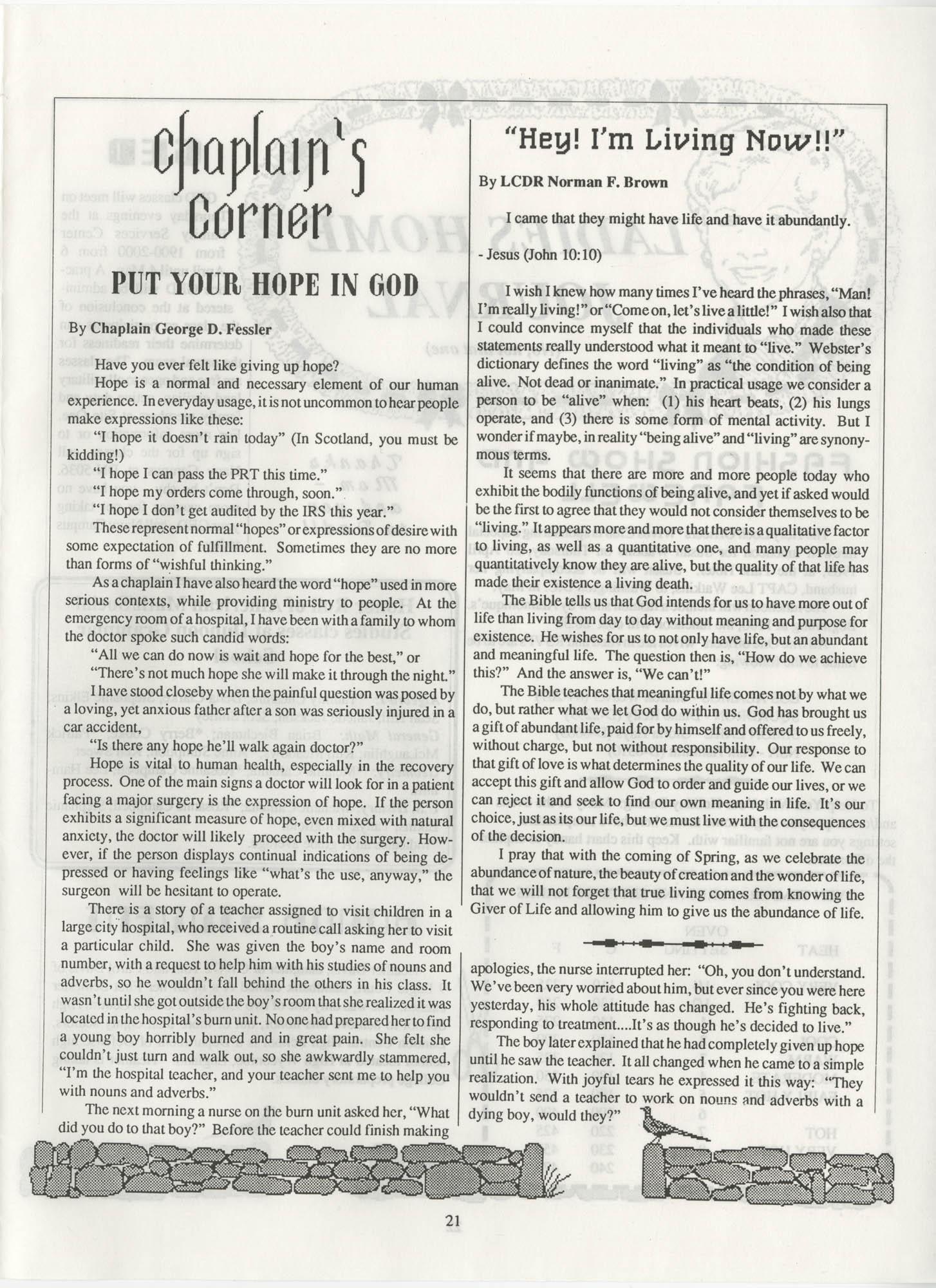 Periscope/Highlander, Vol. 1 No. 6, April 1989, Page 21
