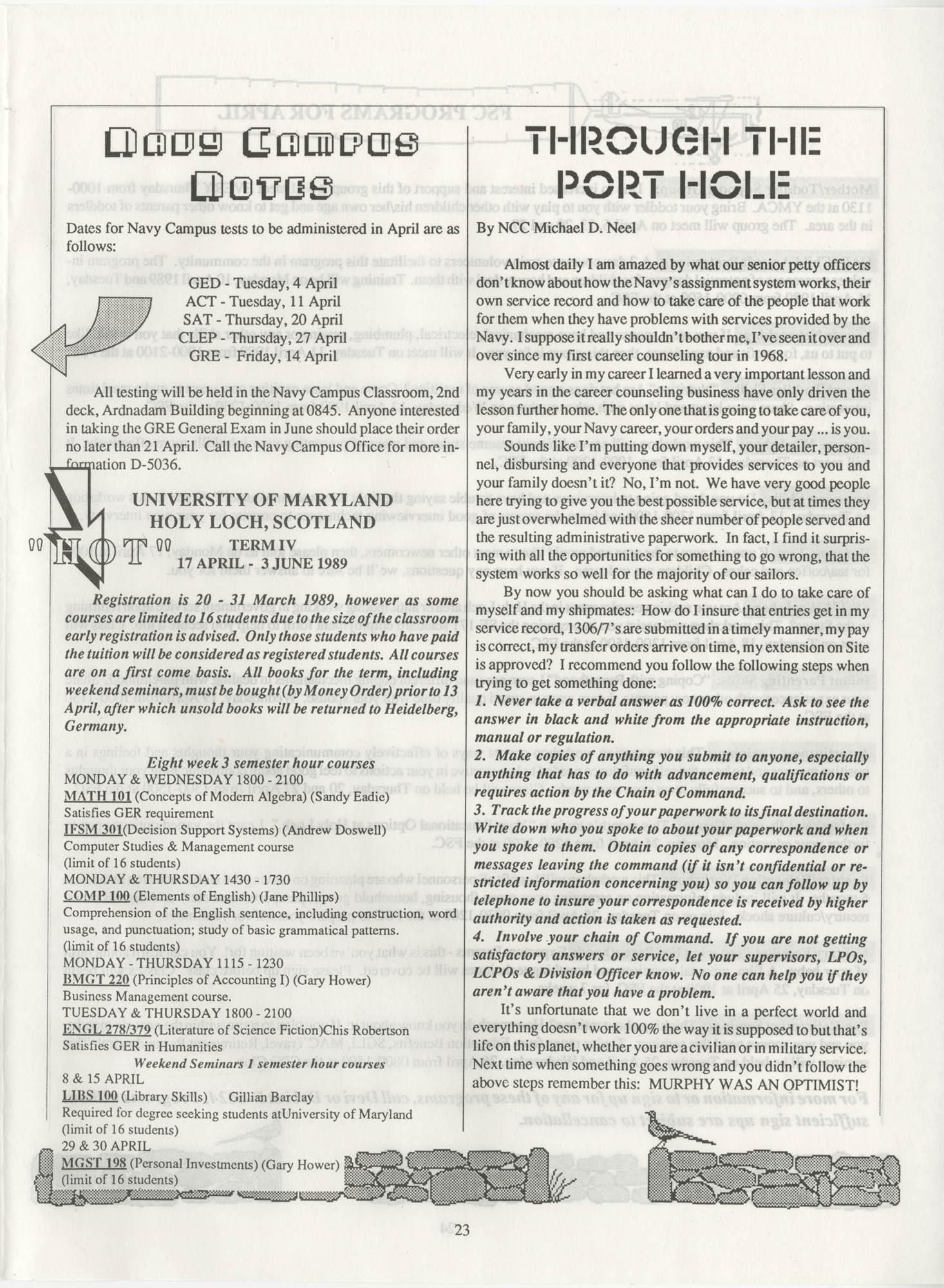 Periscope/Highlander, Vol. 1 No. 6, April 1989, Page 23
