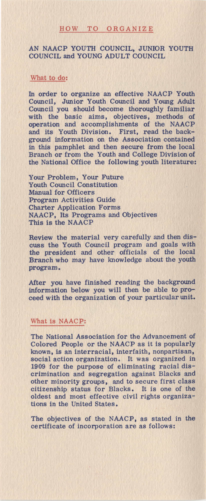 Brochure, How to Organize an NAACP Youth Council, NAACP, Page 1