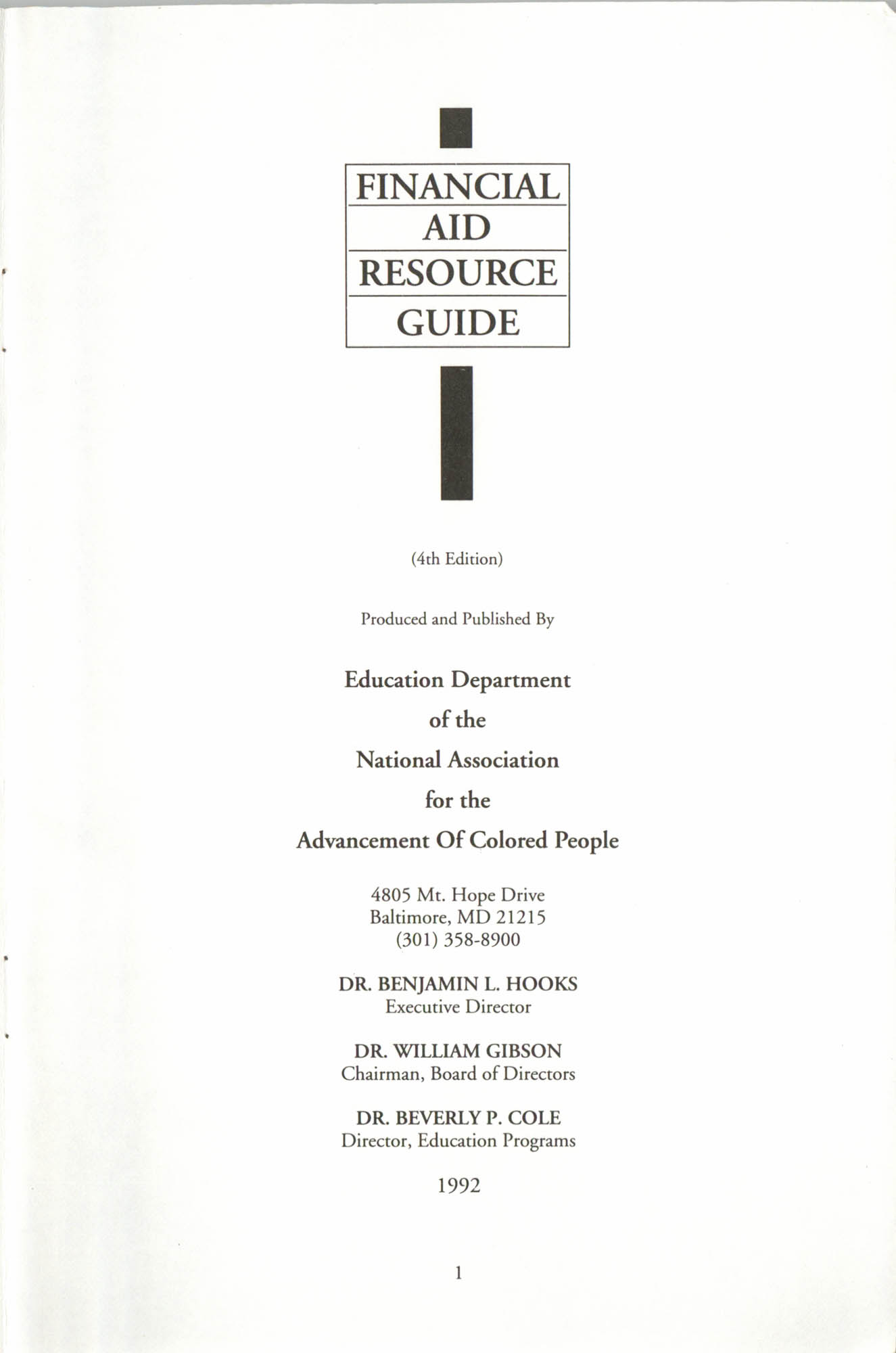 Financial Aid Resource Guide, Education Department, NAACP, Page 1