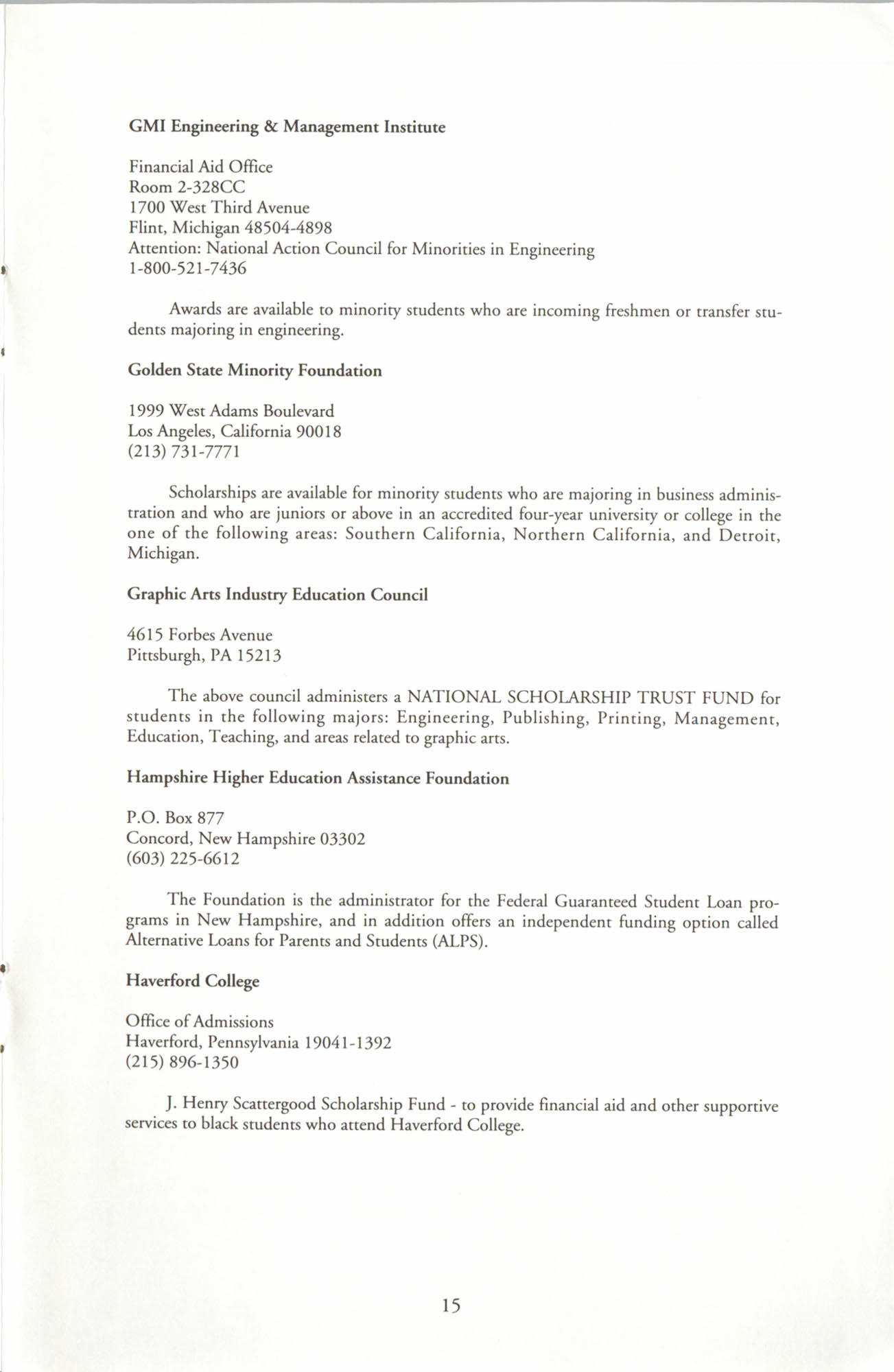 Financial Aid Resource Guide, Education Department, NAACP, Page 15