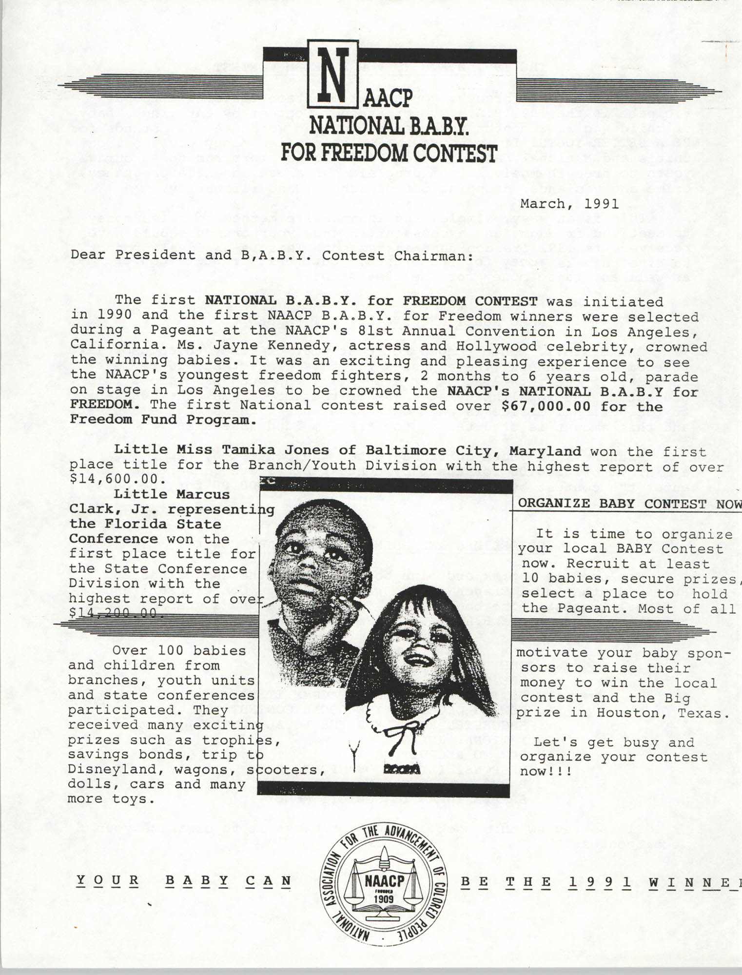 National Baby For Freedom Contest, NAACP, March 1991, Page 1