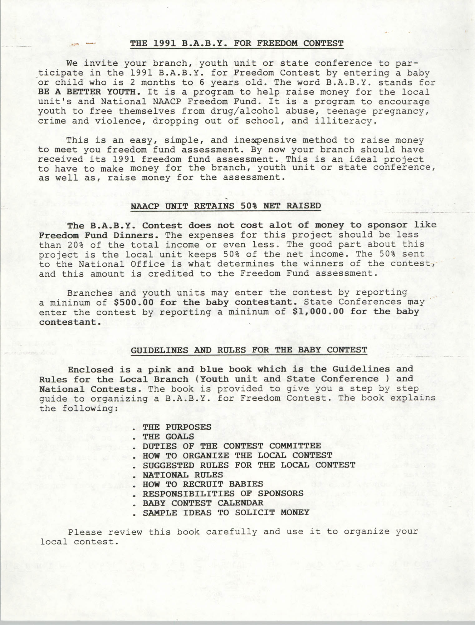 National Baby For Freedom Contest, NAACP, March 1991, Page 2