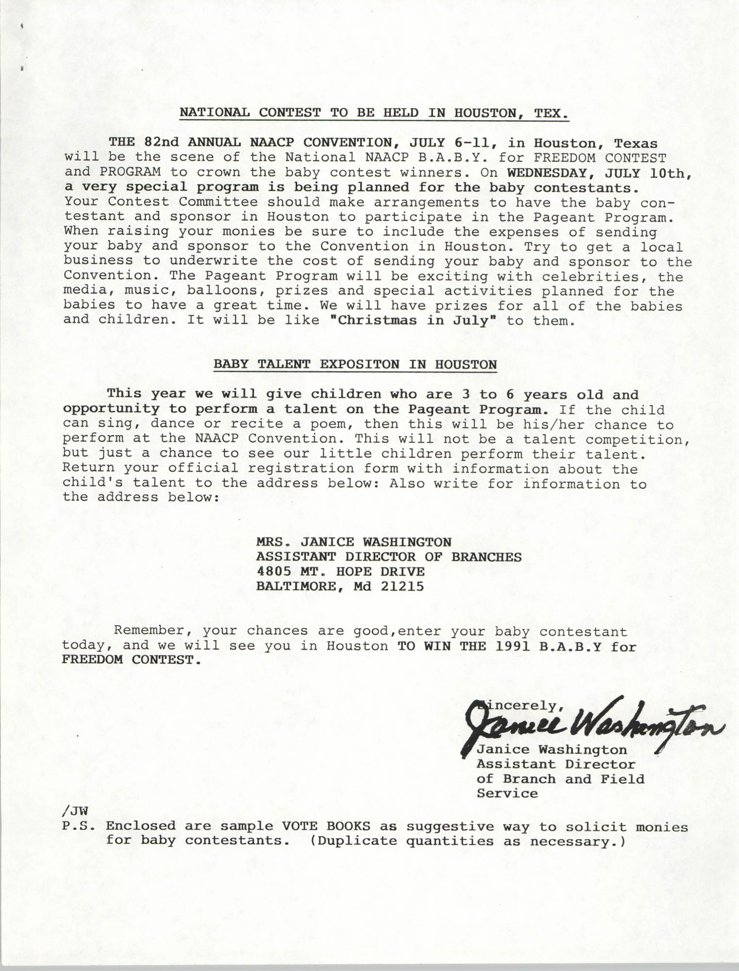 National Baby For Freedom Contest, NAACP, March 1991, Page 3