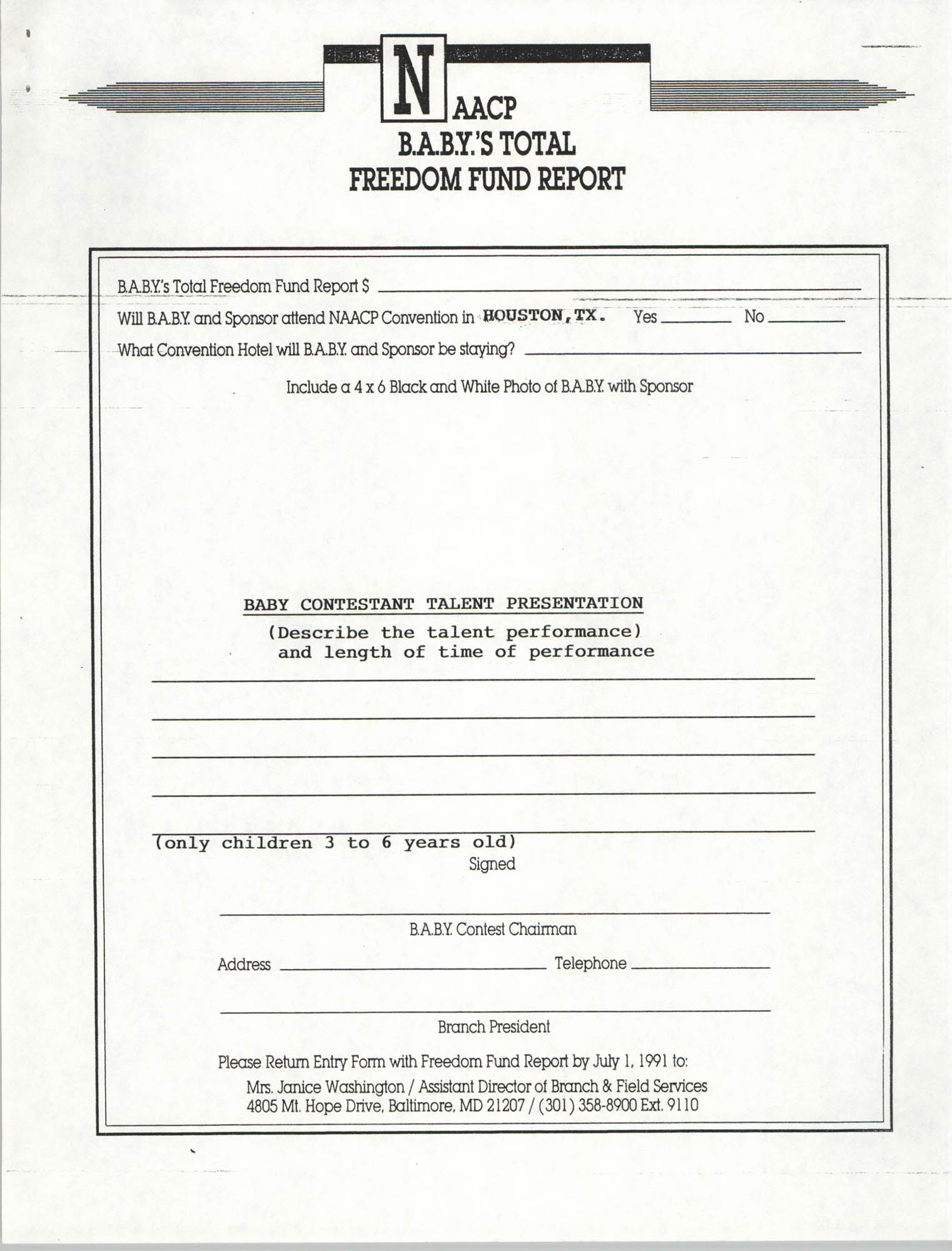 National Baby For Freedom Contest, NAACP, March 1991, Page 5