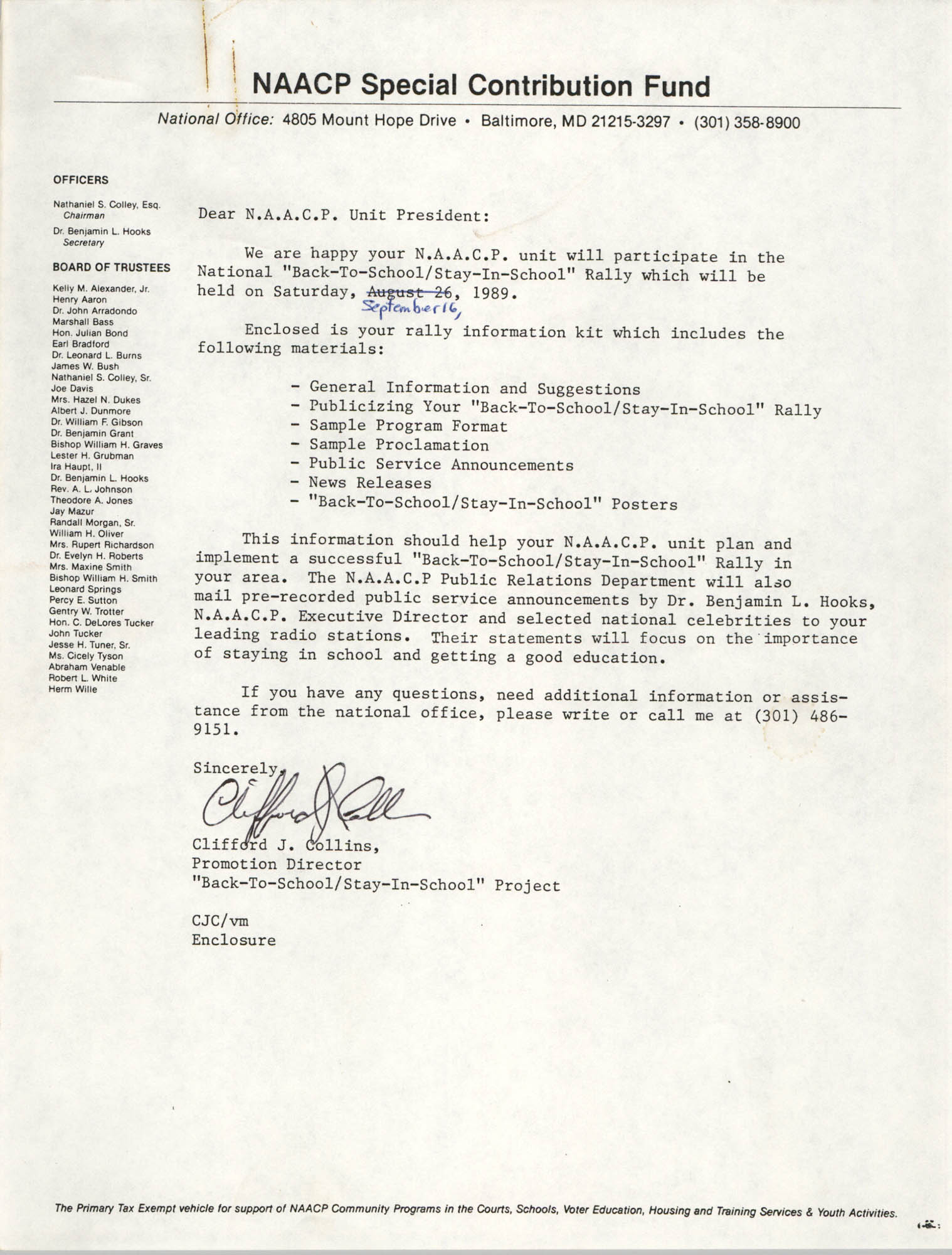 Letter from Clifford J. Collins to NAACP Unit President, Page 1