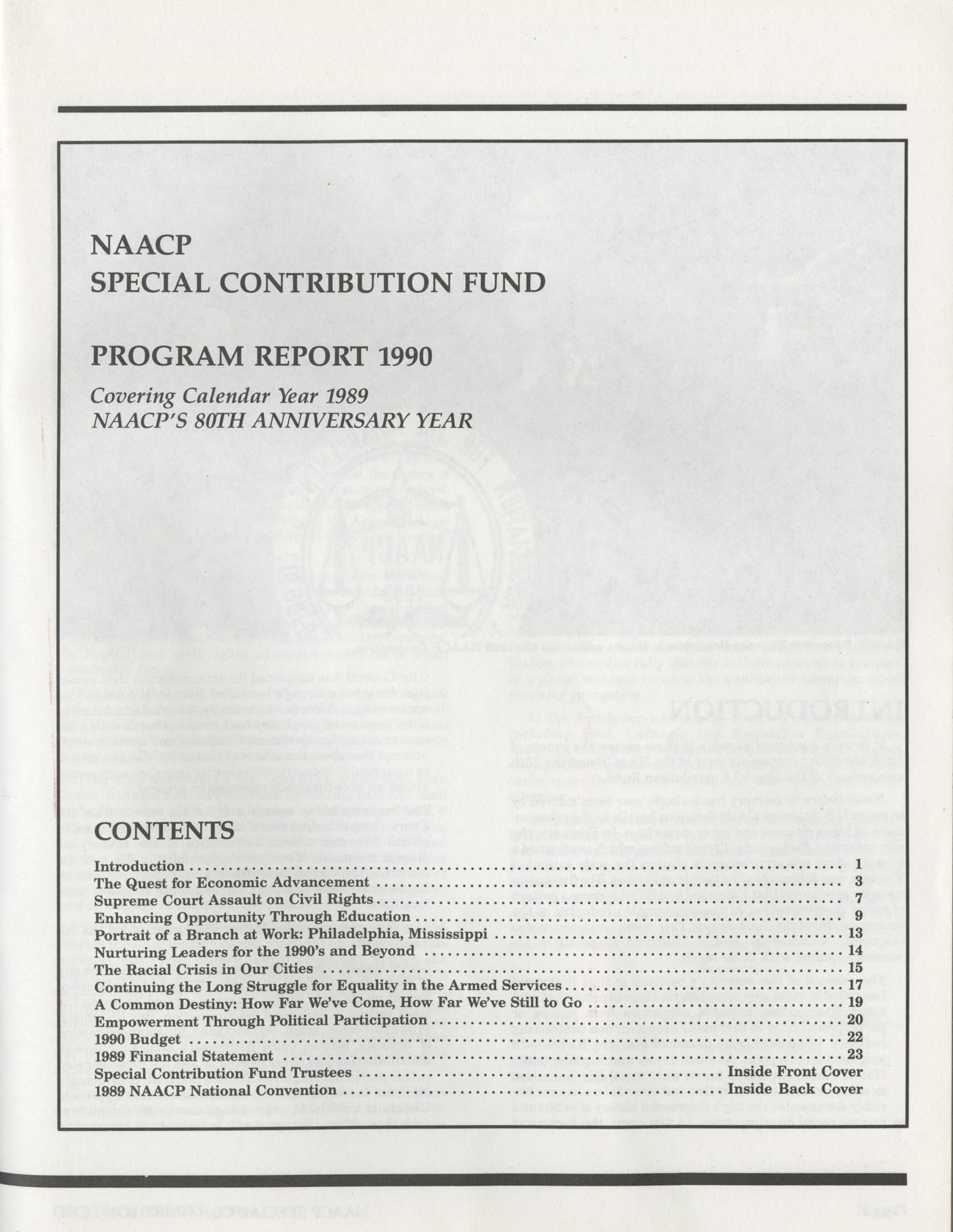 Program Report 1990, Special Contribution Fund, NAACP, Introduction Page 2