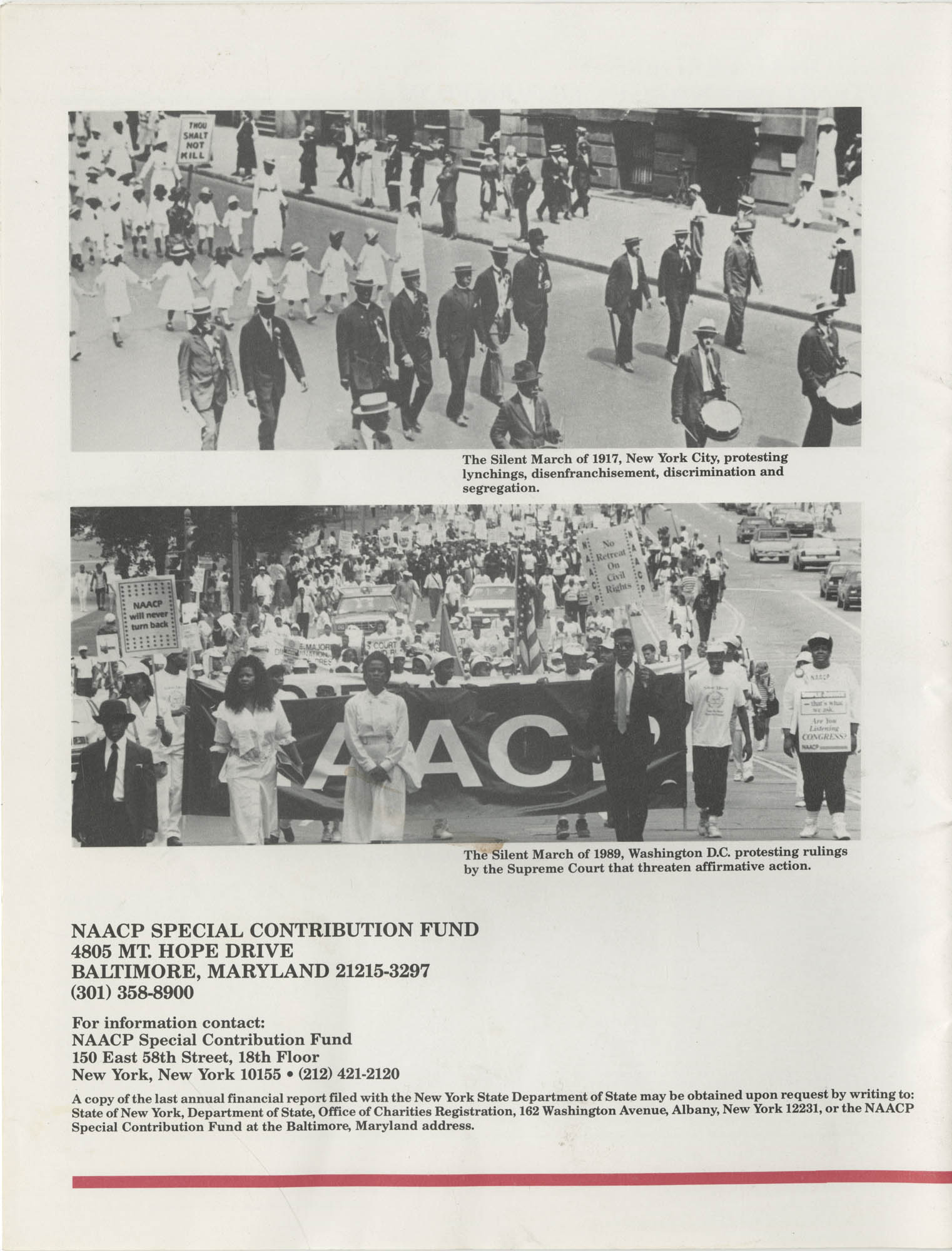 Program Report 1990, Special Contribution Fund, NAACP, Back Cover