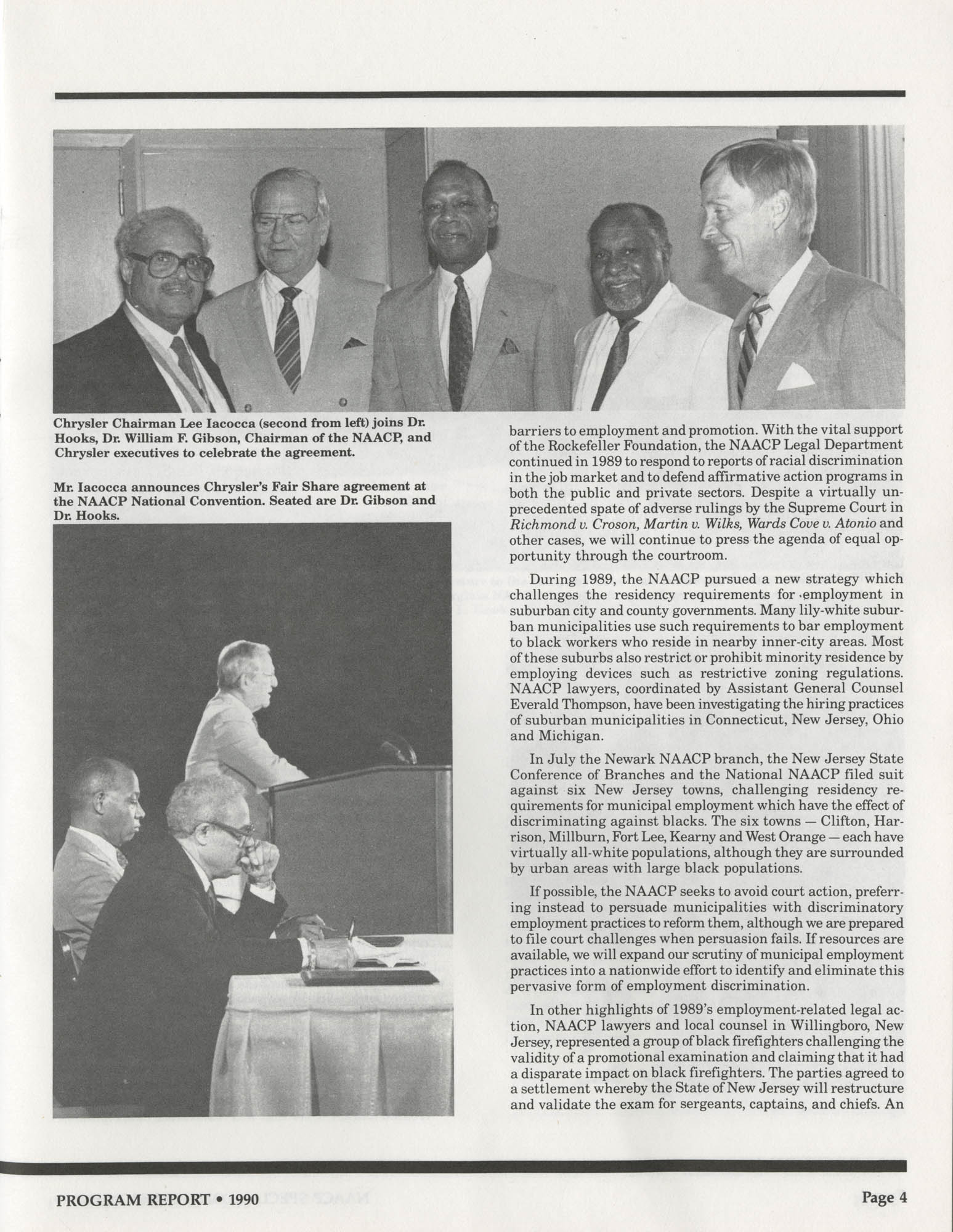 Program Report 1990, Special Contribution Fund, NAACP, Page 4