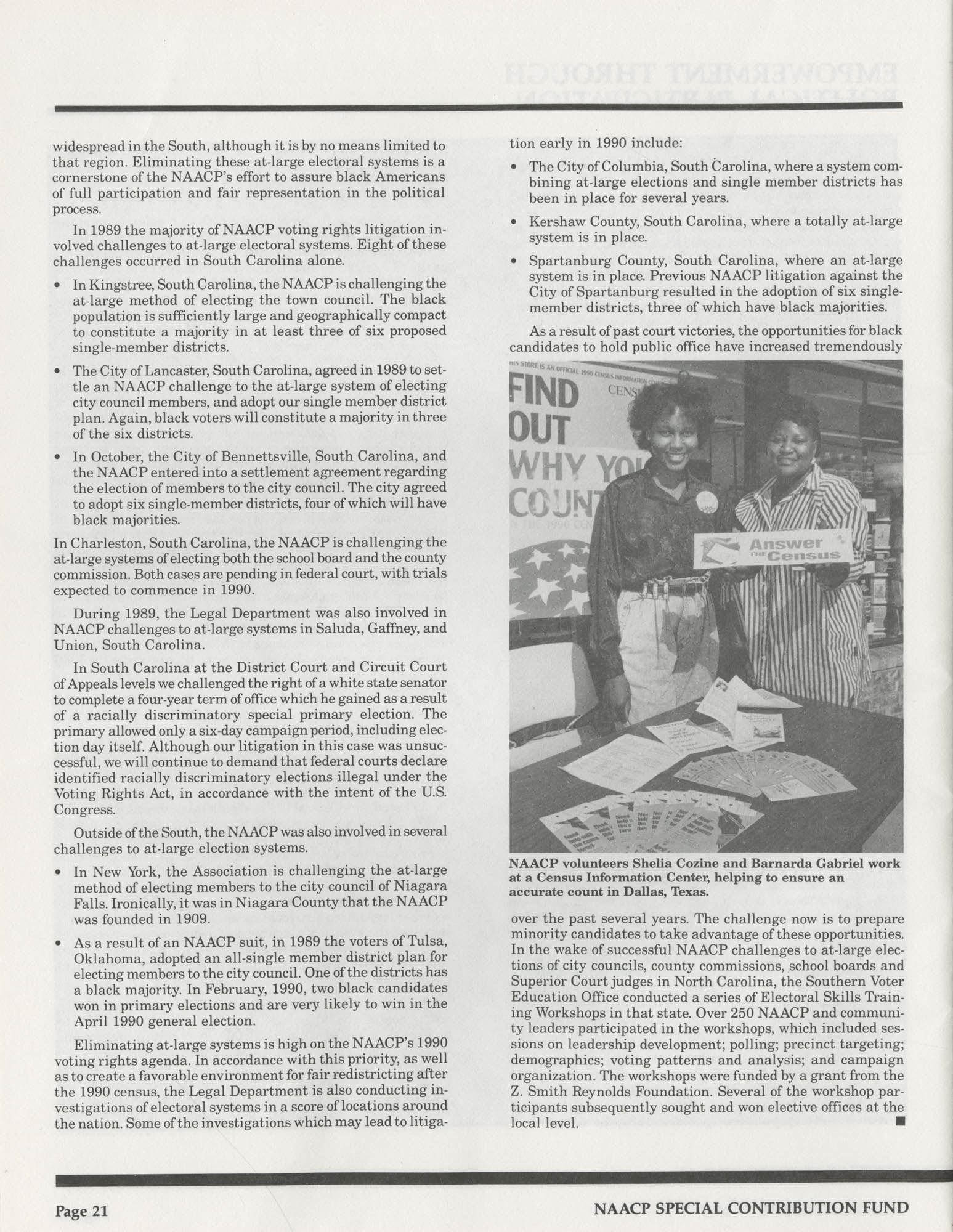 Program Report 1990, Special Contribution Fund, NAACP, Page 21