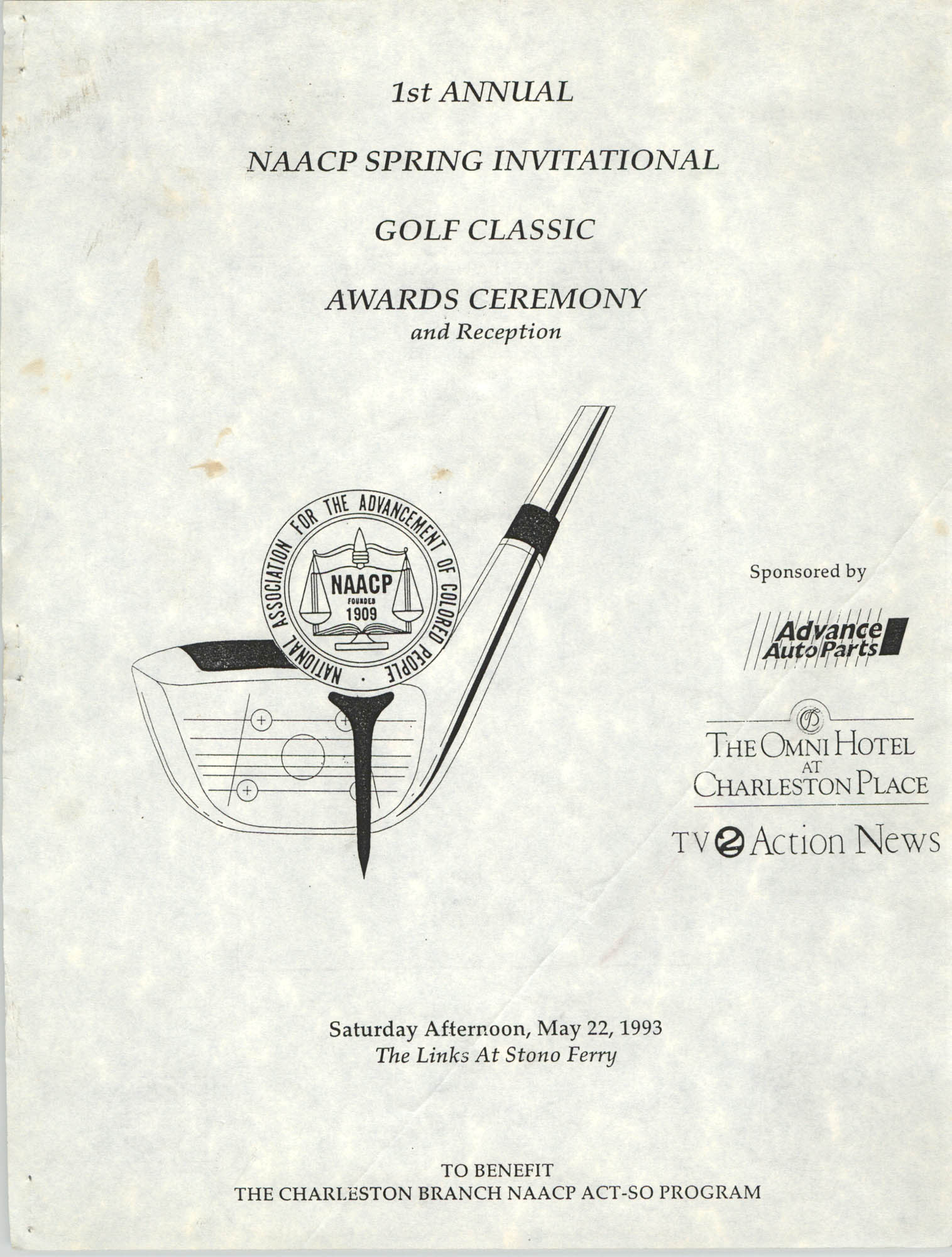 1st Annual NAACP Spring Invitational Golf Classic Awards Ceremony and Reception, NAACP, 1993, Cover Page