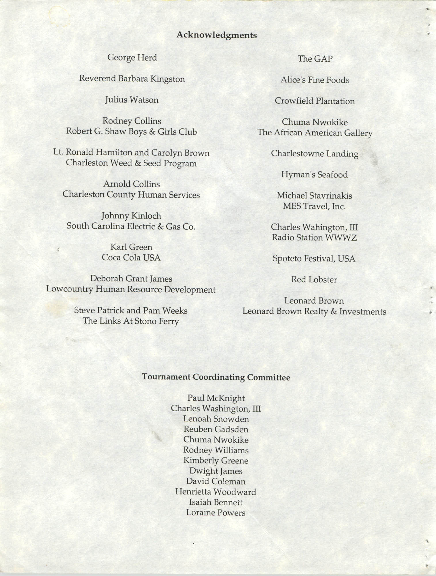 1st Annual NAACP Spring Invitational Golf Classic Awards Ceremony and Reception, NAACP, 1993, Page 3