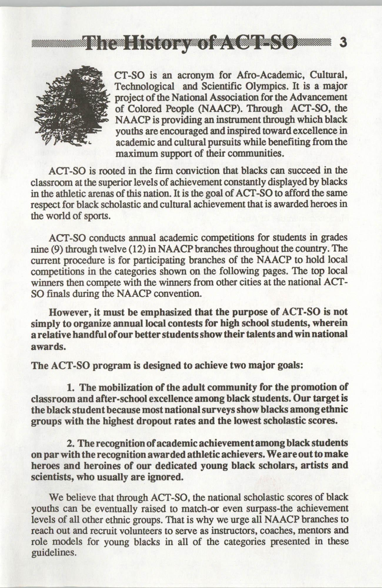 Brochure, ACT-SO Program, NAACP, 1992, Page 3