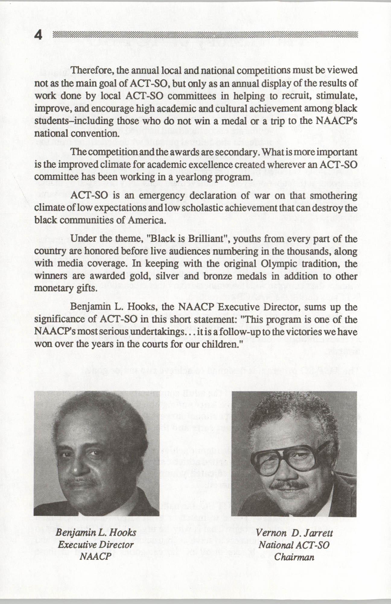 Brochure, ACT-SO Program, NAACP, 1992, Page 4