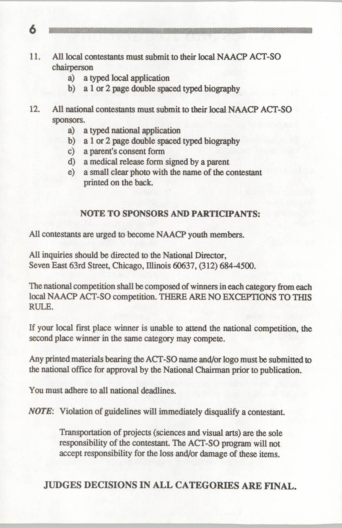 Brochure, ACT-SO Program, NAACP, 1992, Page 6