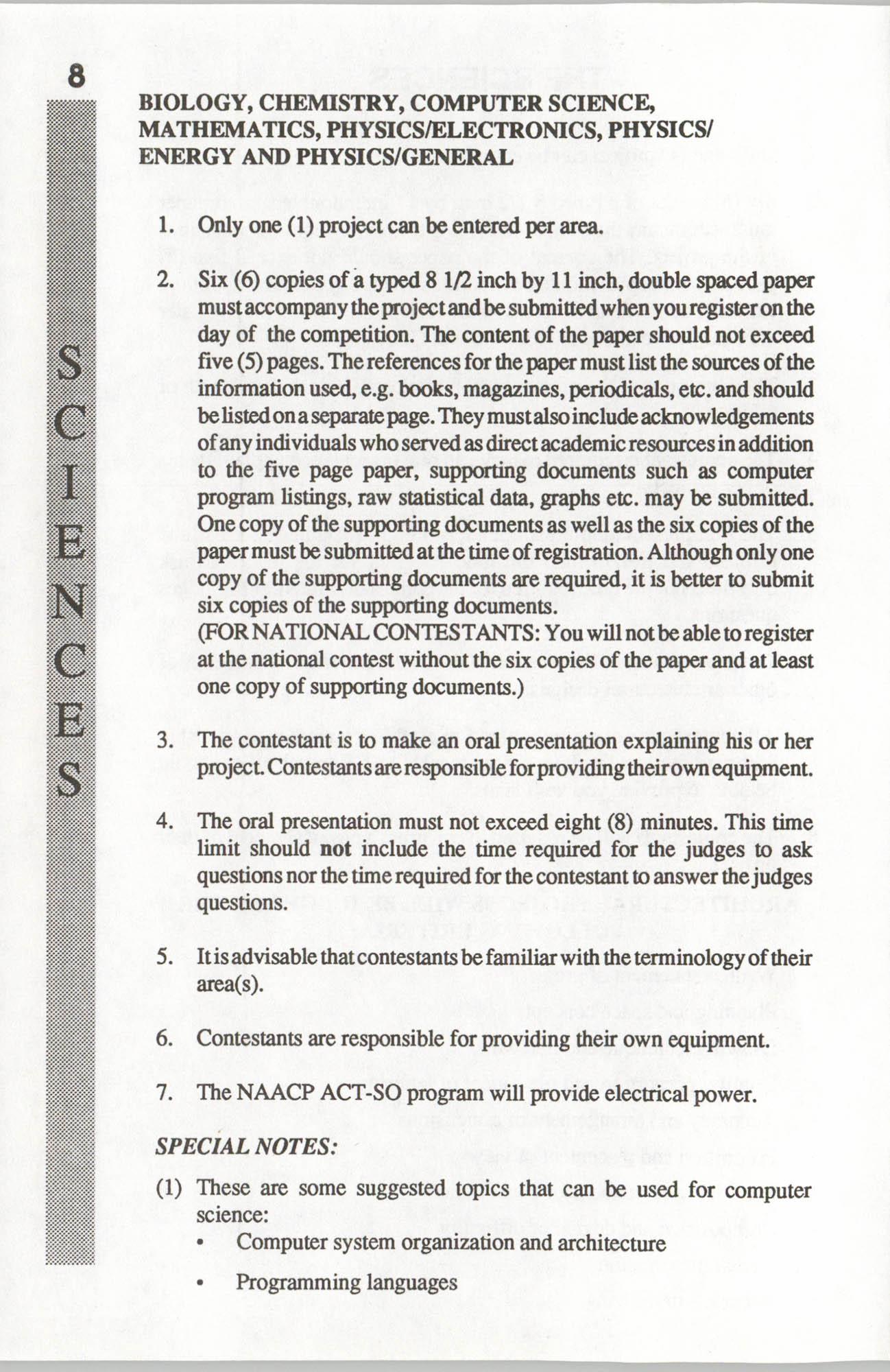 Brochure, ACT-SO Program, NAACP, 1992, Page 8
