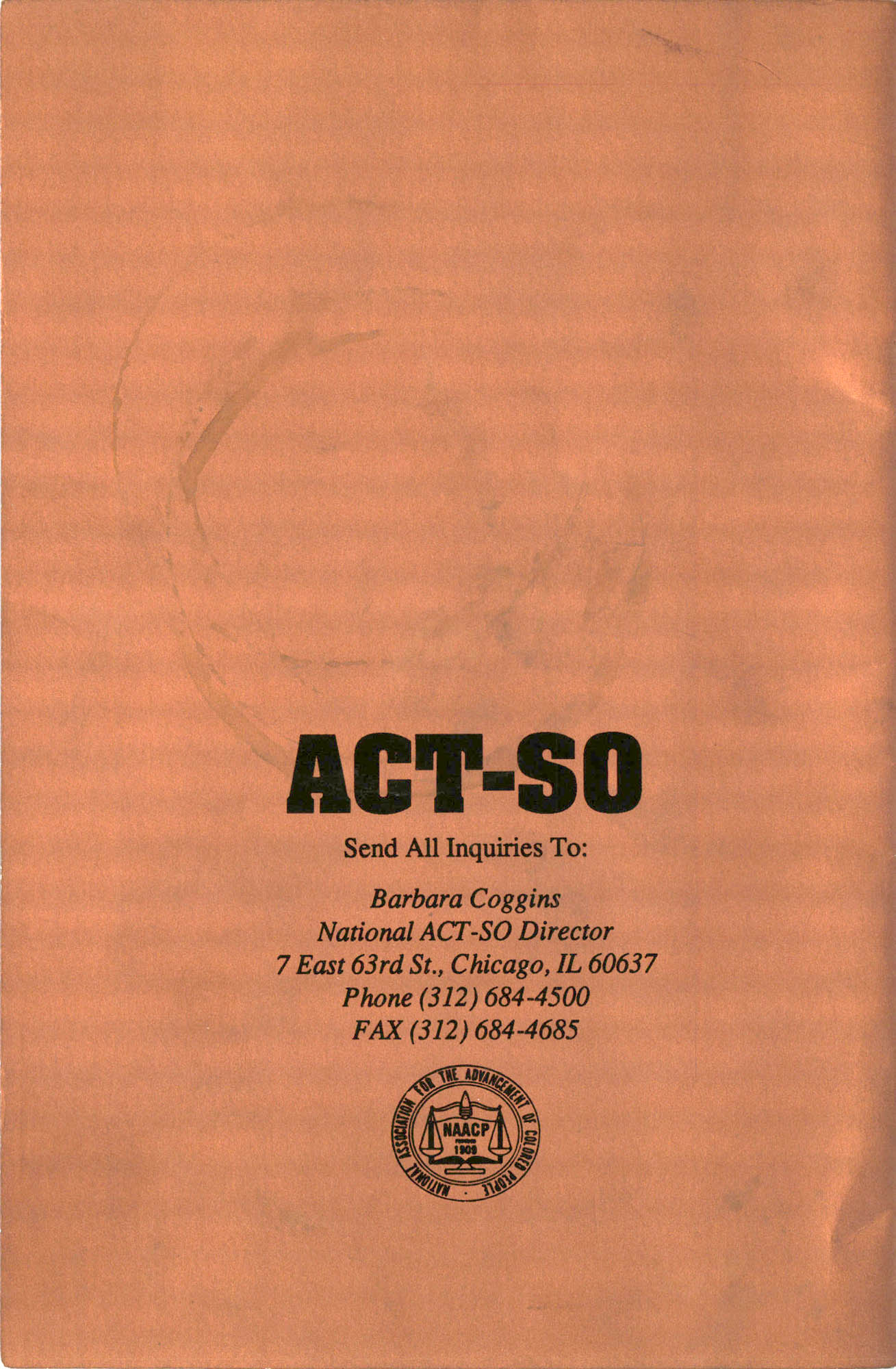 Brochure, ACT-SO Program, NAACP, 1992, Back Cover