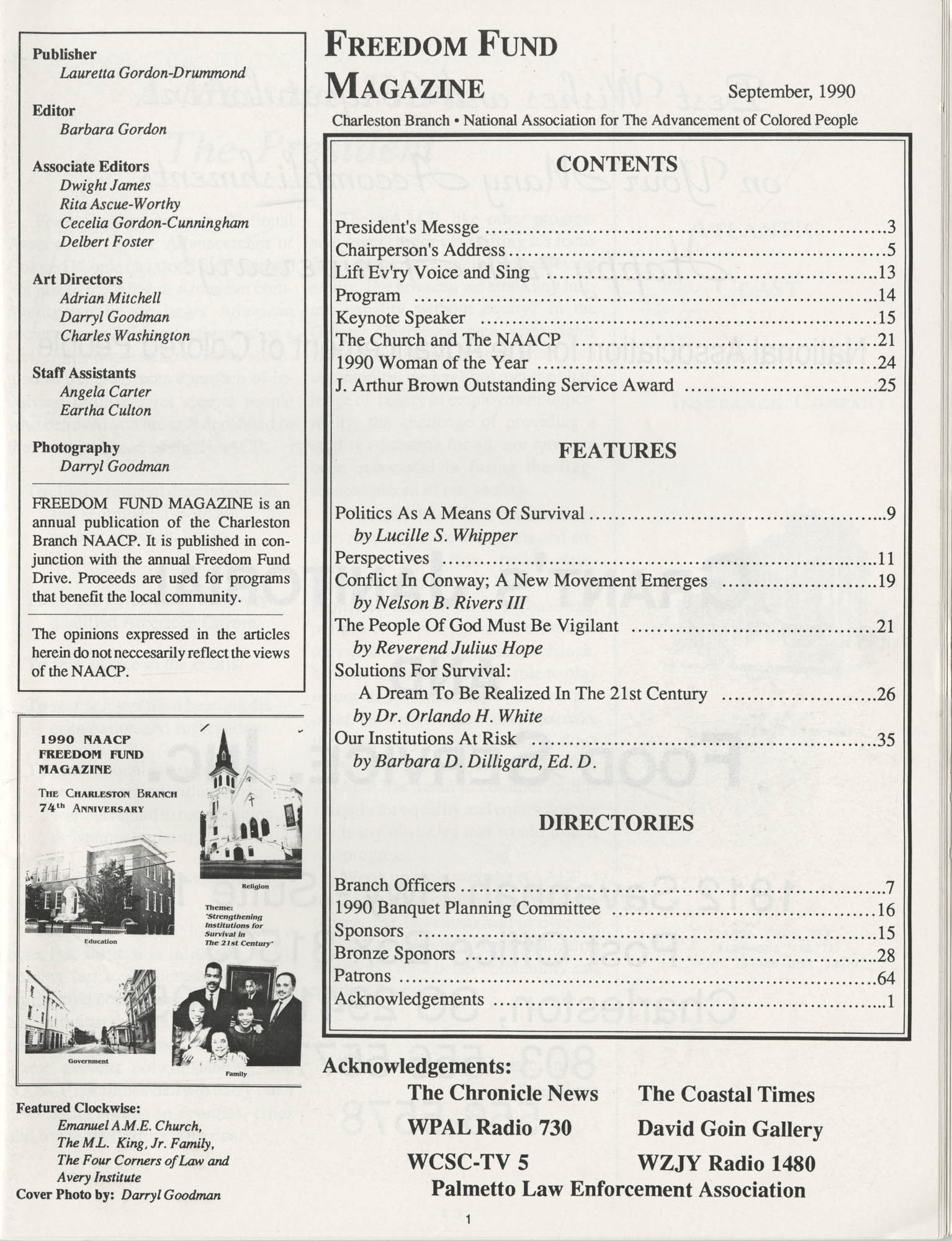 1990 NAACP Freedom Fund Magazine, Charleston Branch of the NAACP, 74th Anniversary, Page 1
