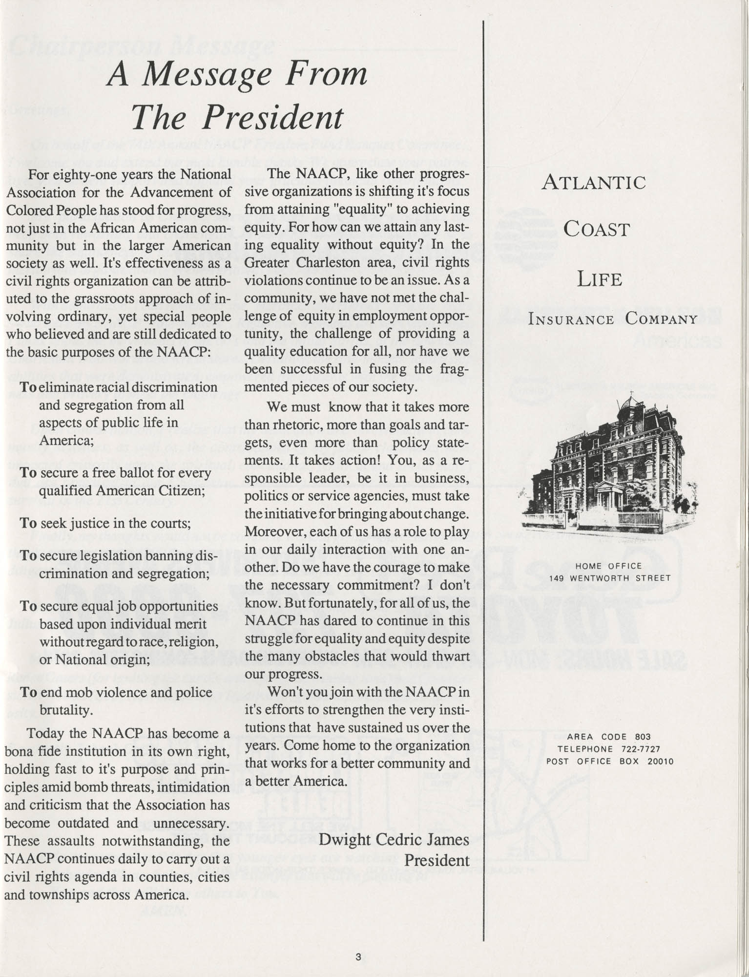 1990 NAACP Freedom Fund Magazine, Charleston Branch of the NAACP, 74th Anniversary, Page 3