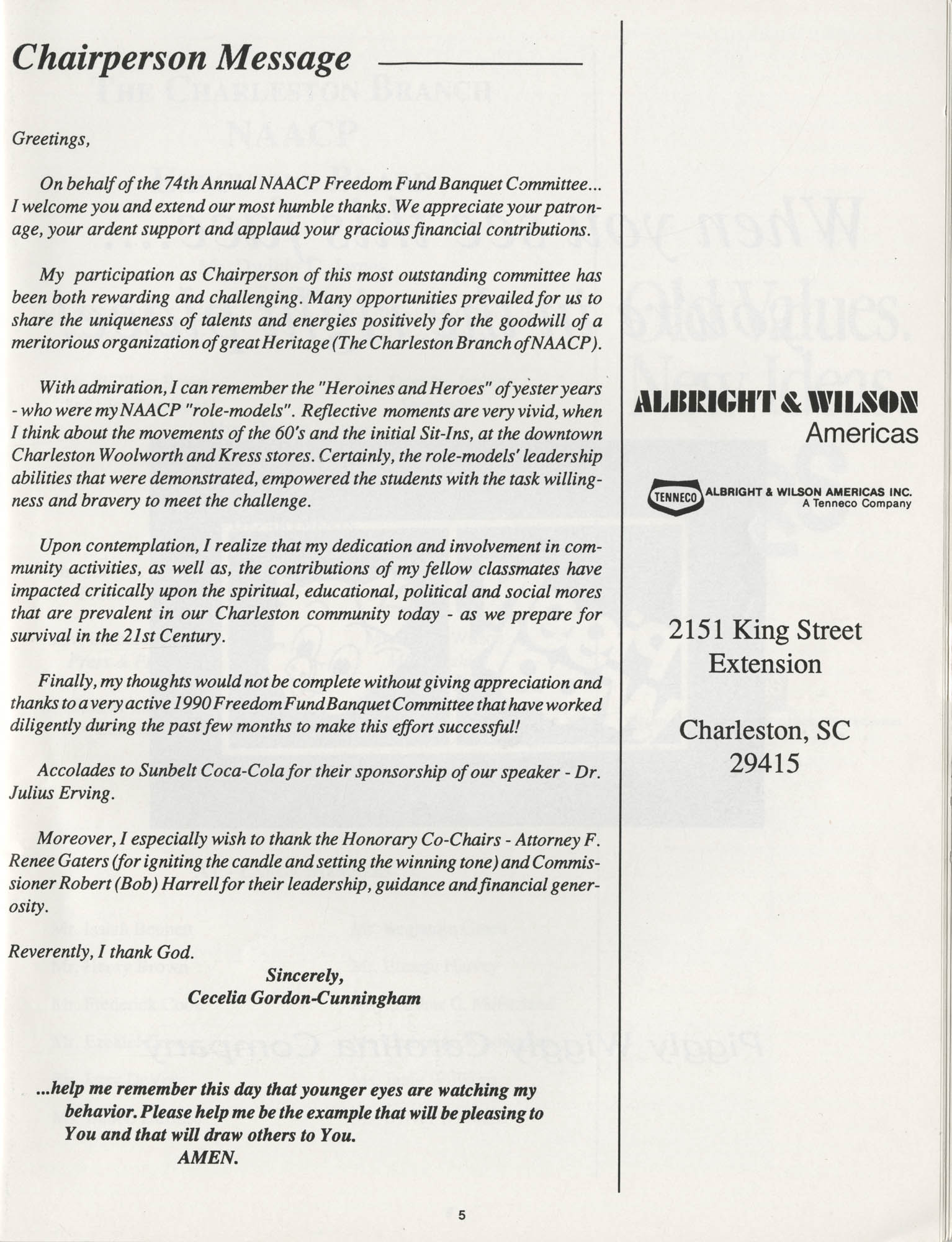 1990 NAACP Freedom Fund Magazine, Charleston Branch of the NAACP, 74th Anniversary, Page 5