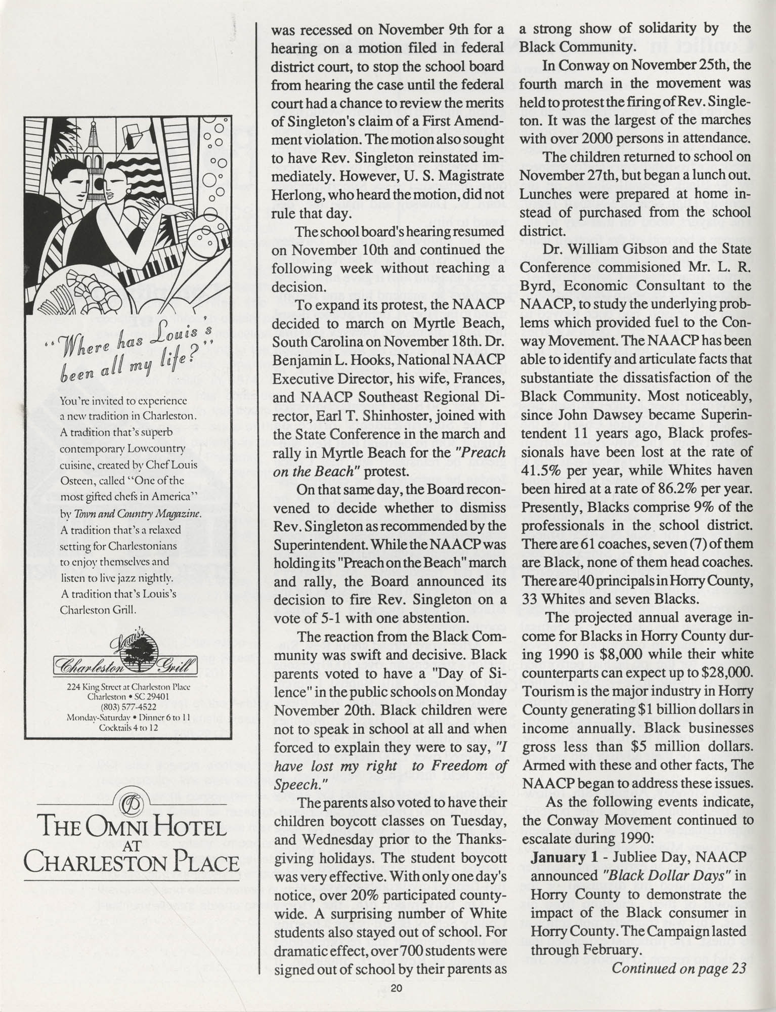 1990 NAACP Freedom Fund Magazine, Charleston Branch of the NAACP, 74th Anniversary, Page 20