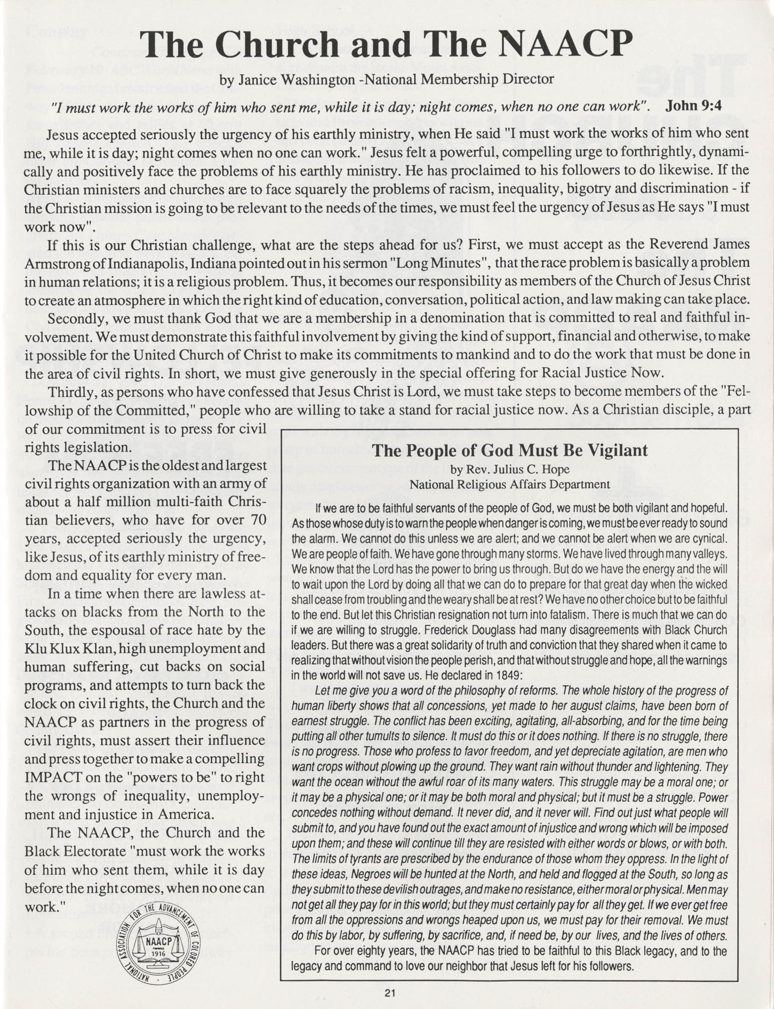 1990 NAACP Freedom Fund Magazine, Charleston Branch of the NAACP, 74th Anniversary, Page 21
