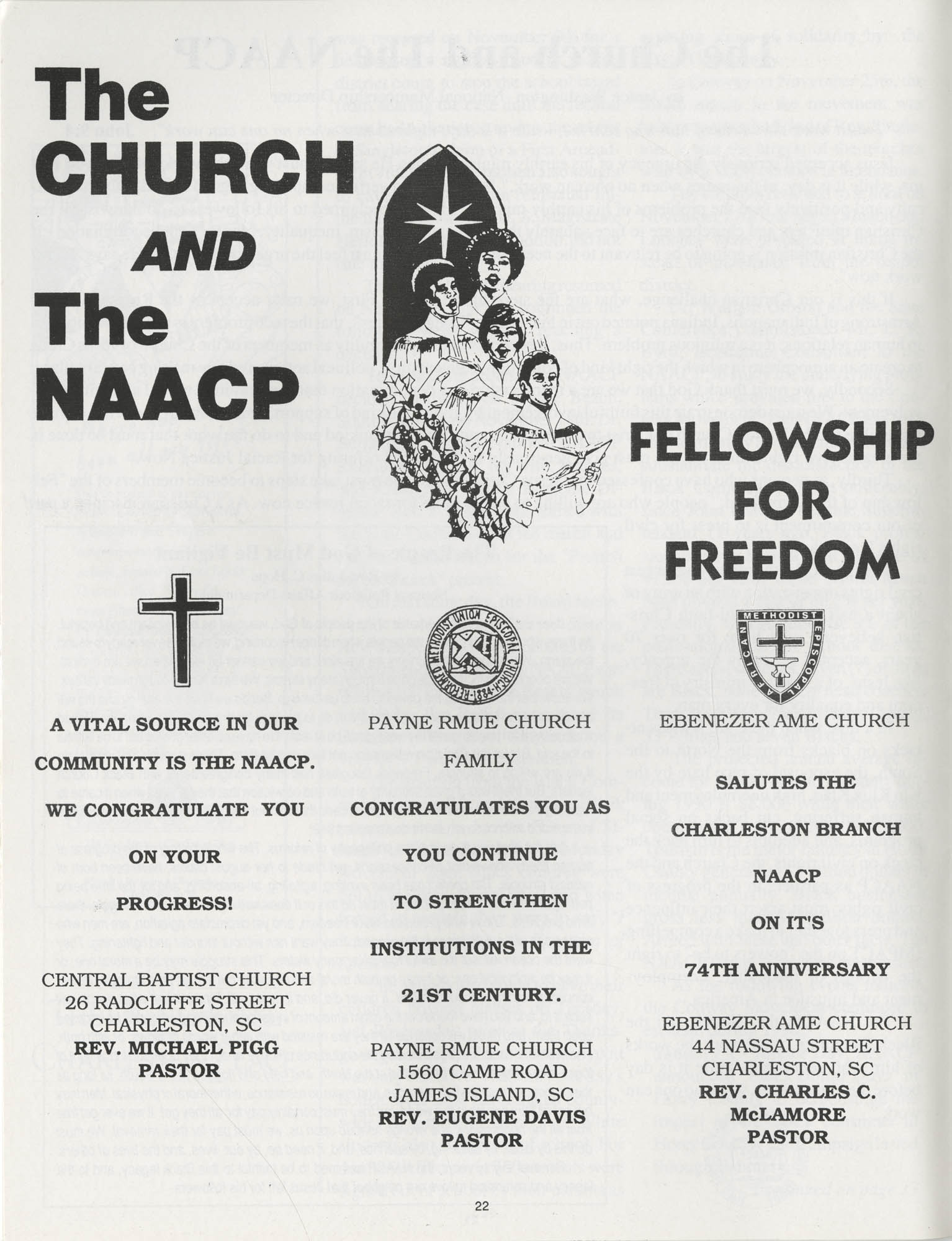 1990 NAACP Freedom Fund Magazine, Charleston Branch of the NAACP, 74th Anniversary, Page 22